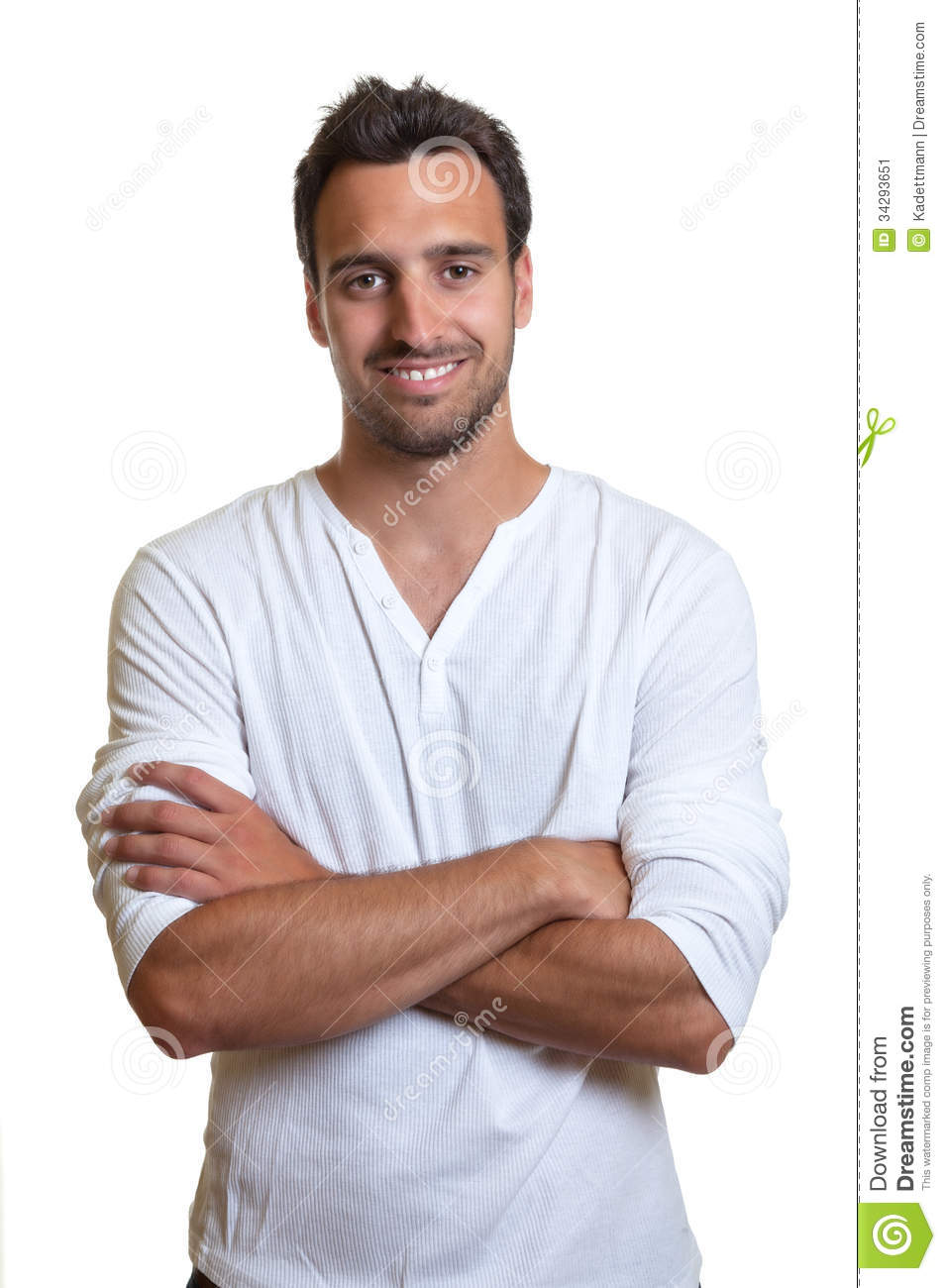 standing latin man in a white shirt stock image   image 34293651