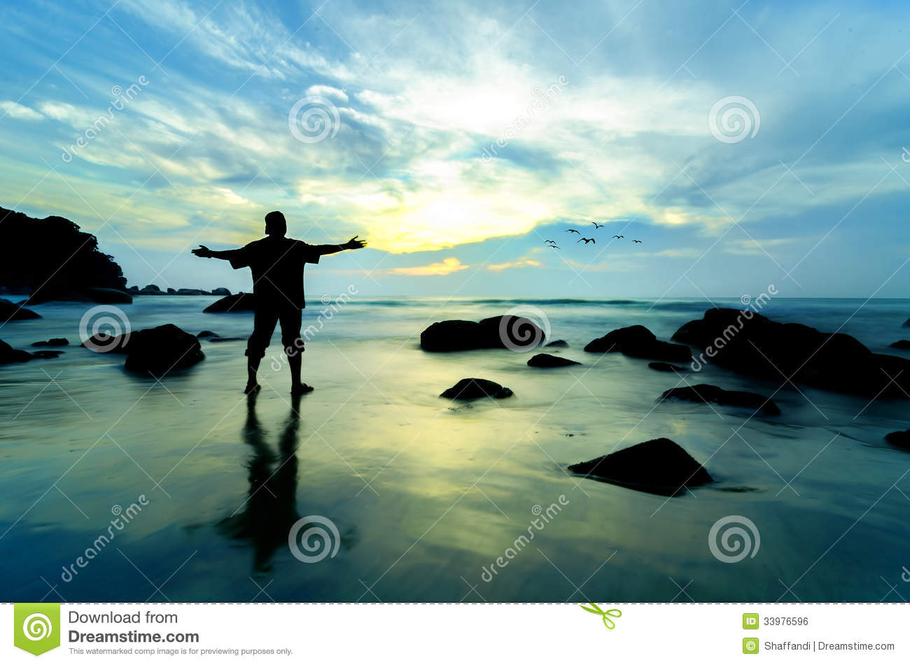 Standing Near The Beach Looking At Sun Rising Royalty Free Stock Image ...