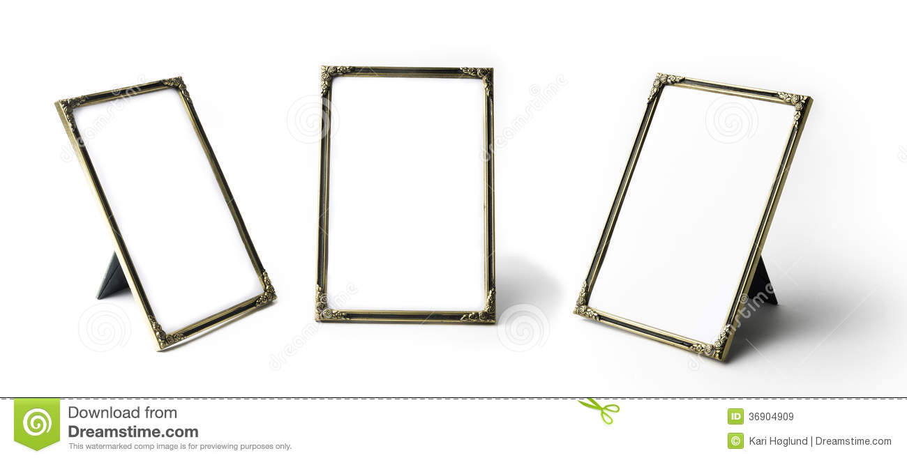 Standing picture frame stock image. Image of gold, reflection - 36904909