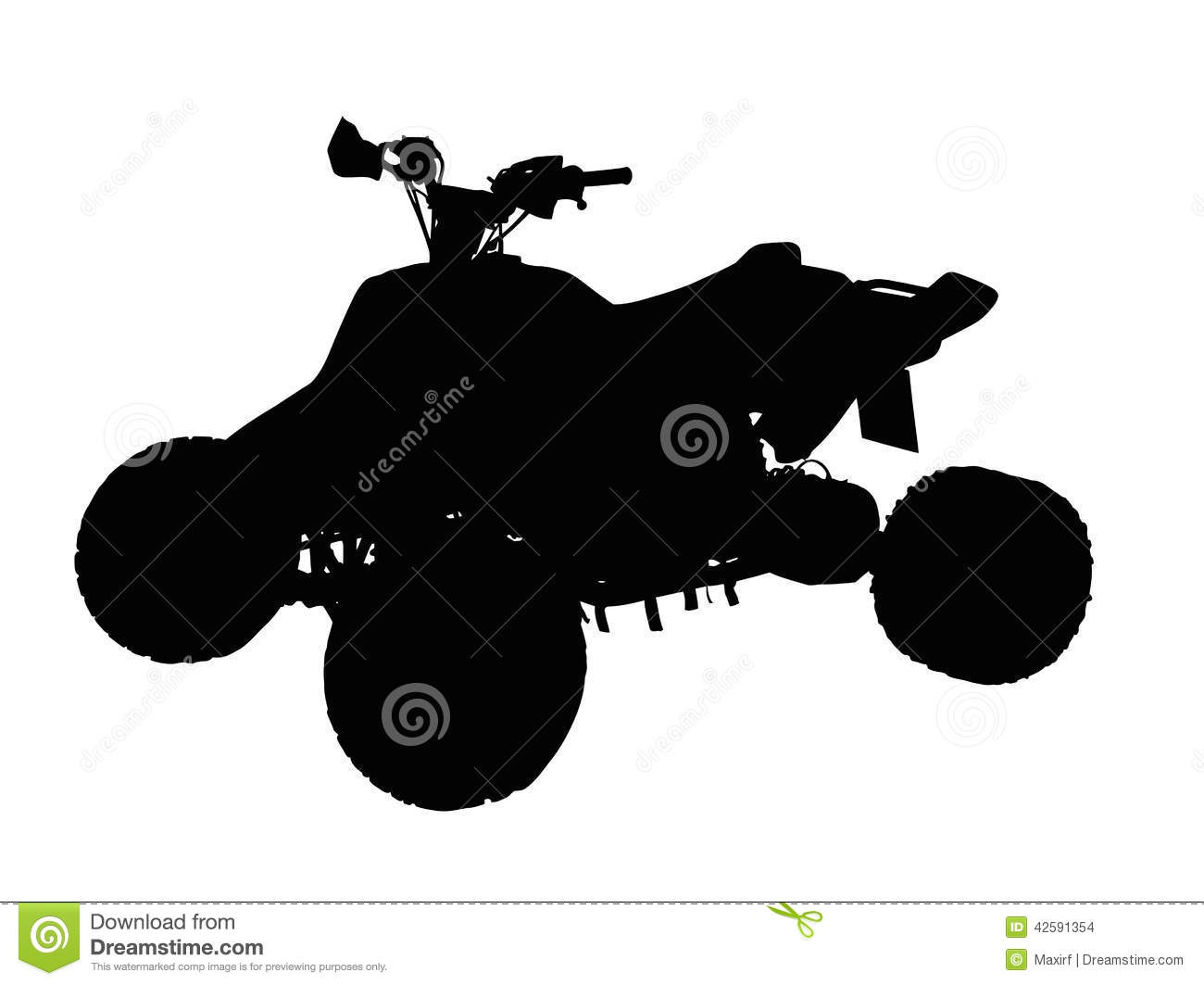 Standing Quad Bike Atv Isolated Silhouette Stock Vector
