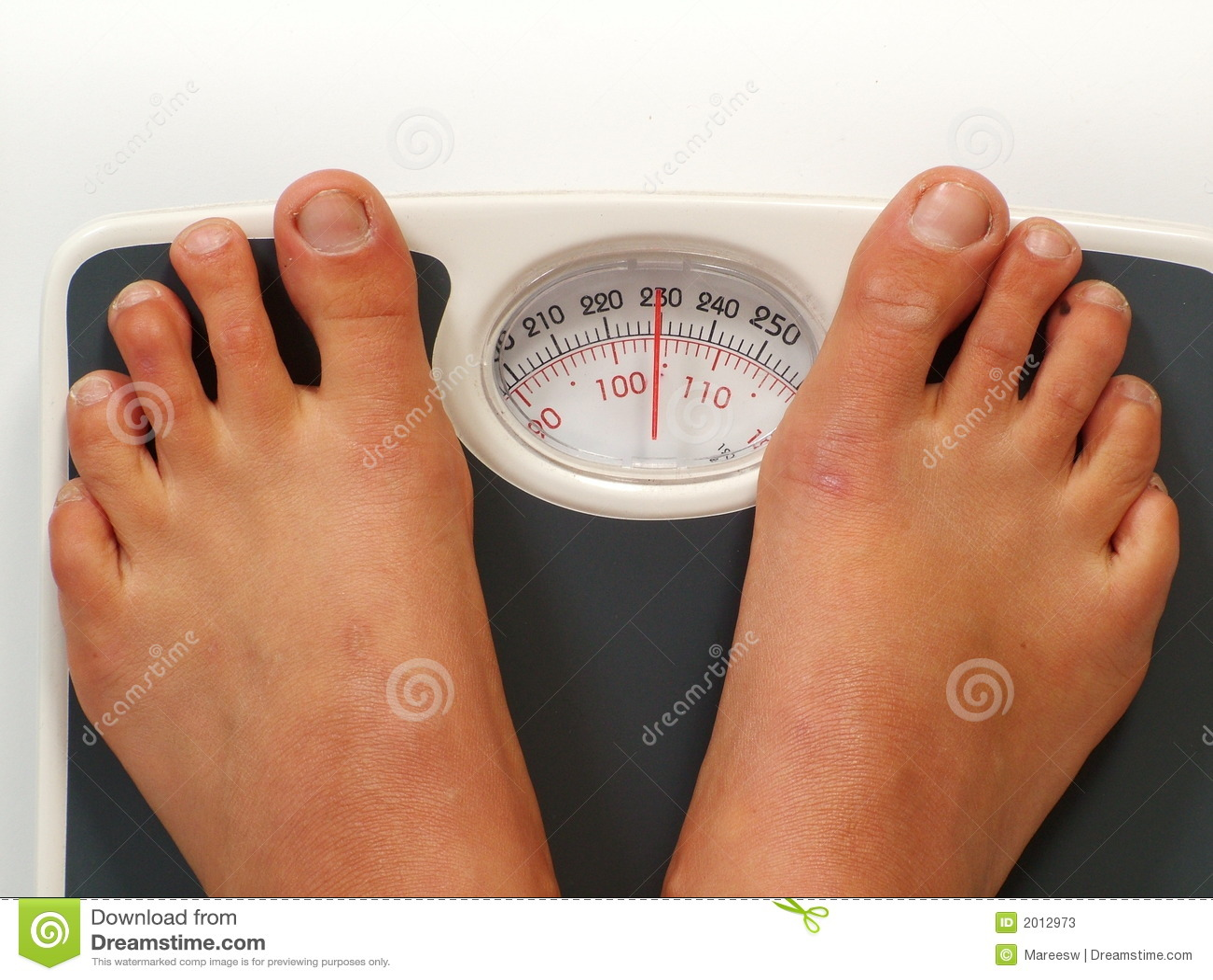 Female Feet On Scales Stock Photo