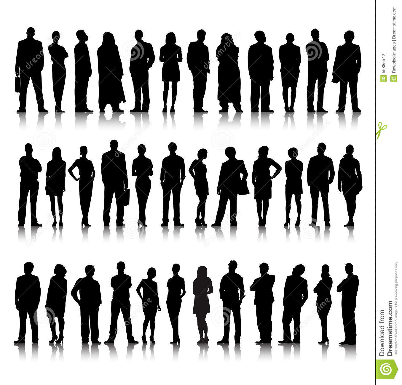 Business: Standing Silhouette Of Crowd Of Business People Stock