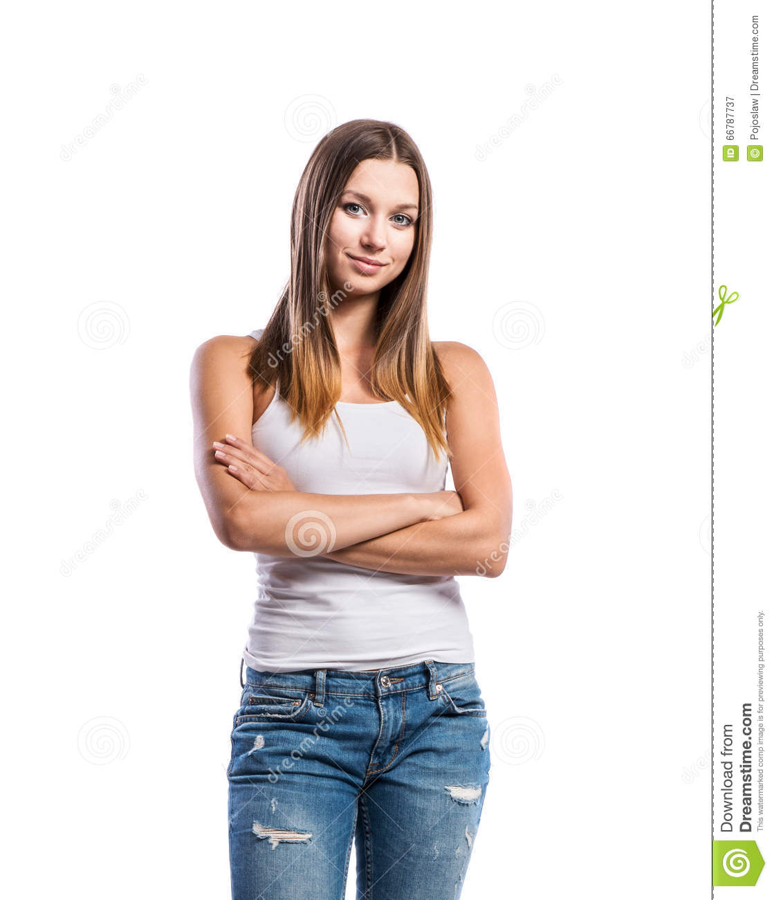 Standing Teenage Girl In Jeans And White Singlet Isolated Stock Photo - Image 66787737