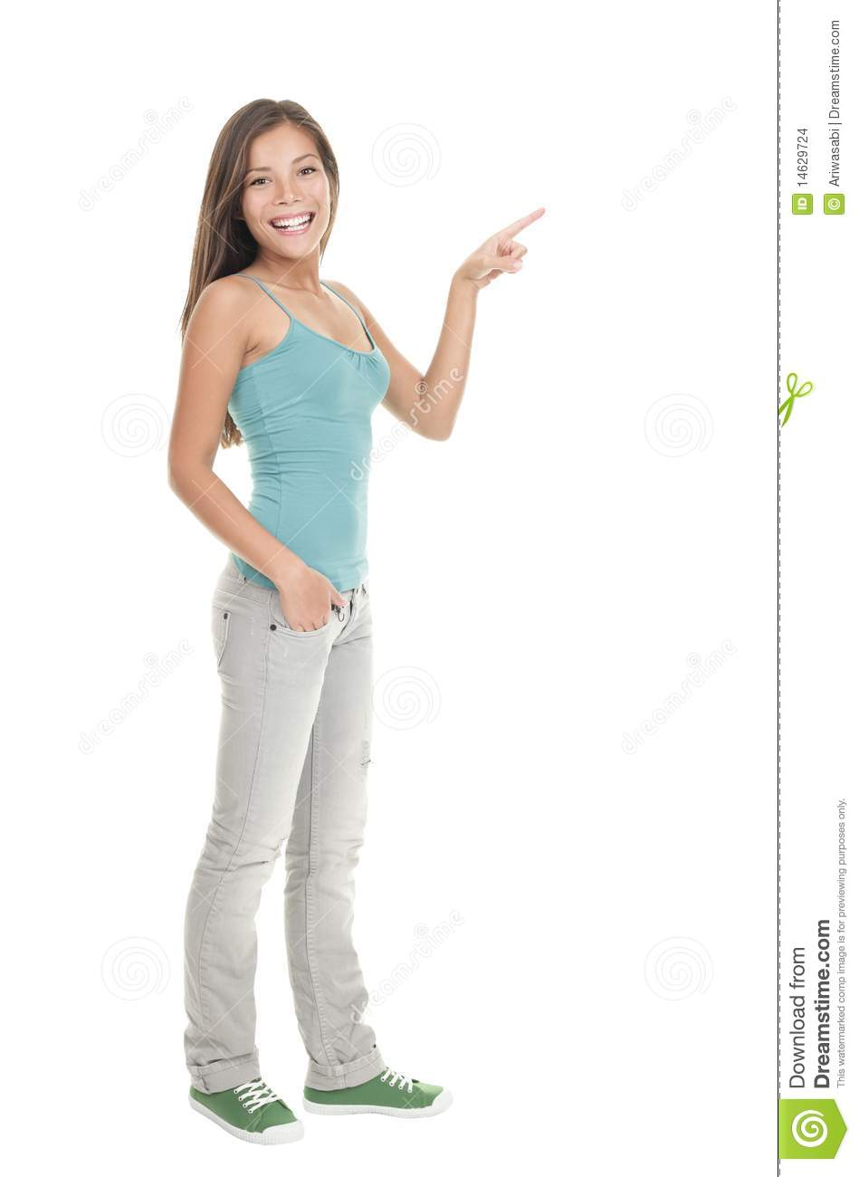standing woman pointingWoman Standing Side White Background