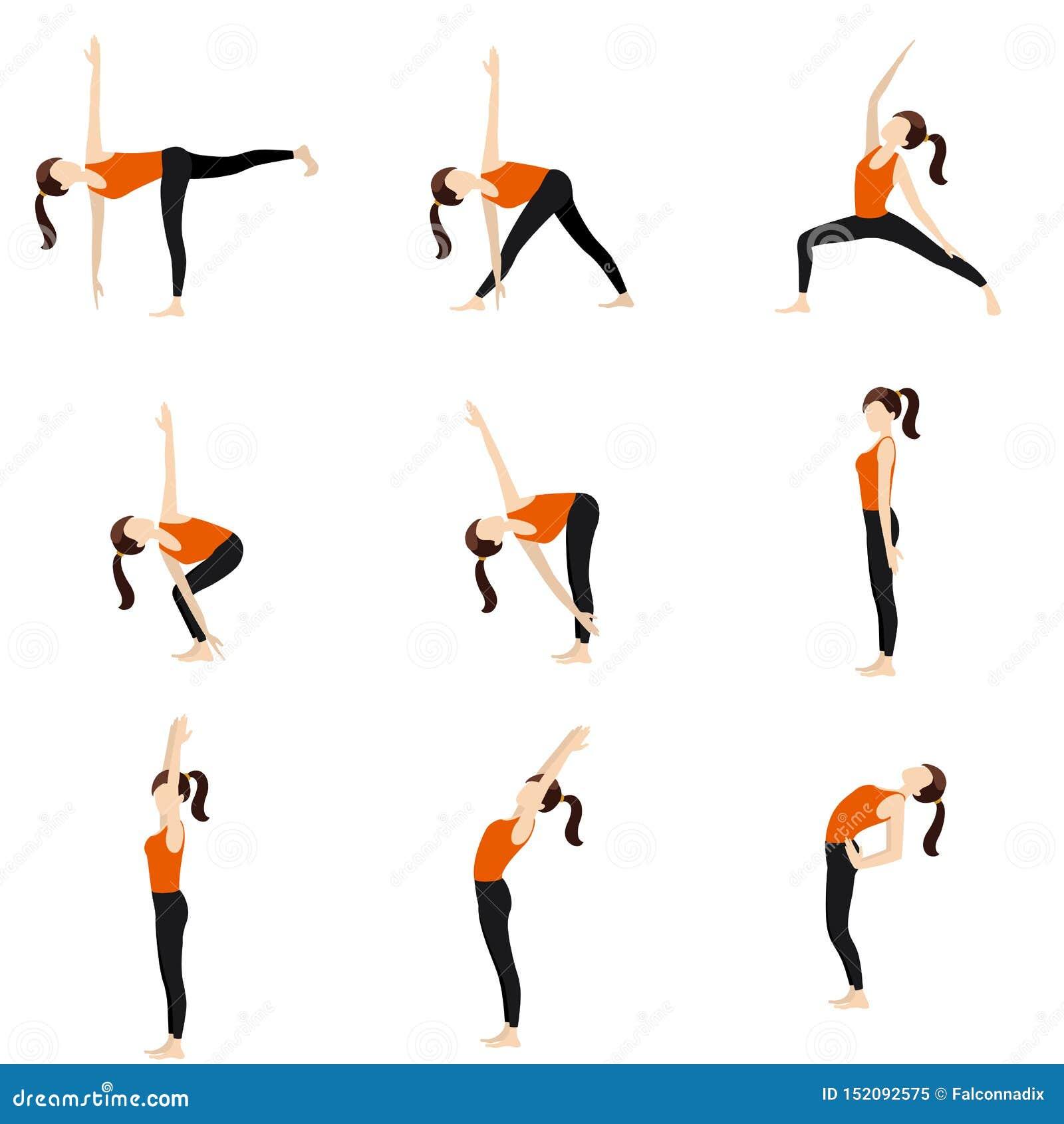 Standing yoga poses set II stock vector. Illustration of bend