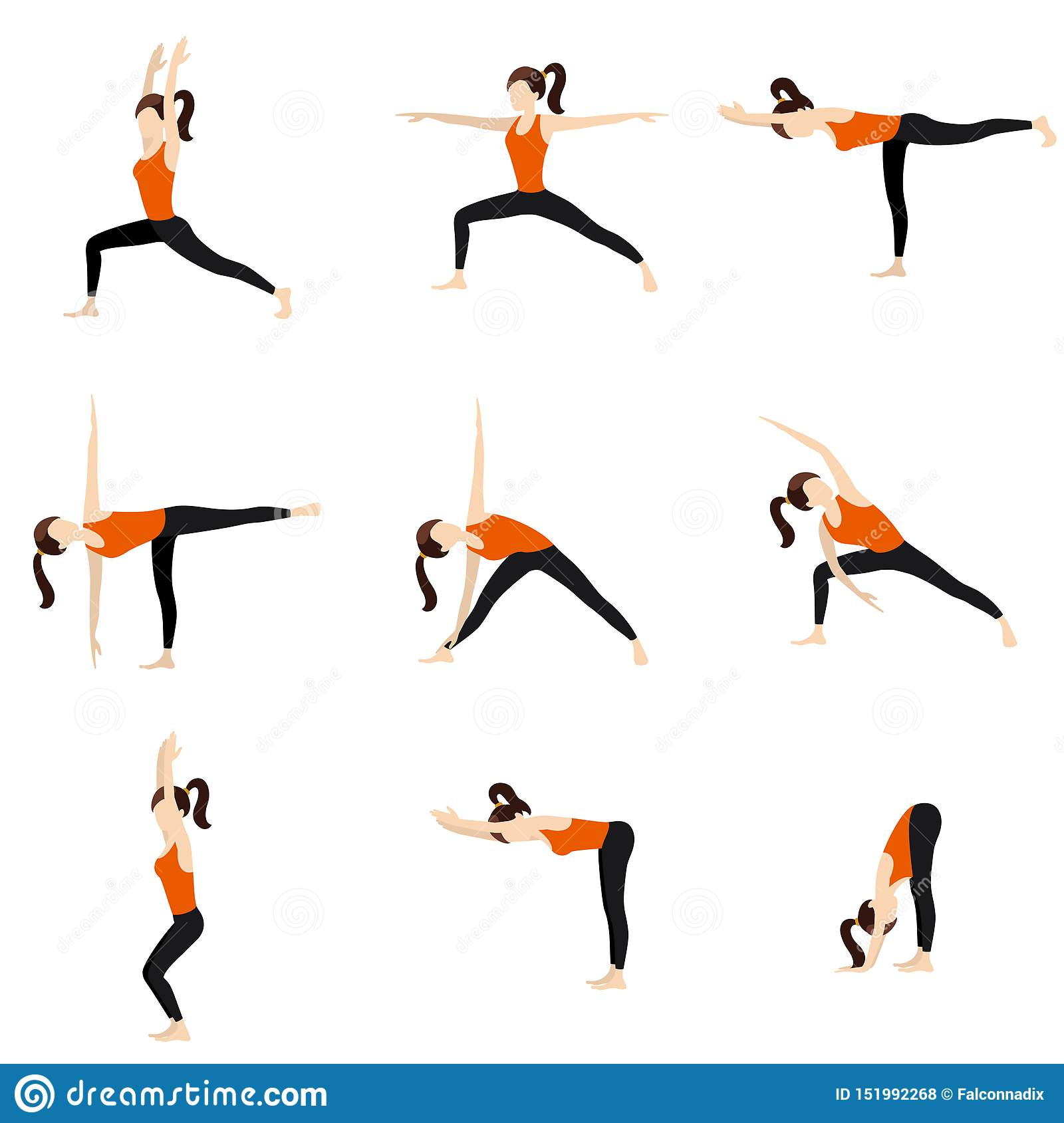 Standing Yoga Poses Set Stock Vector Illustration Of Moon 151992268