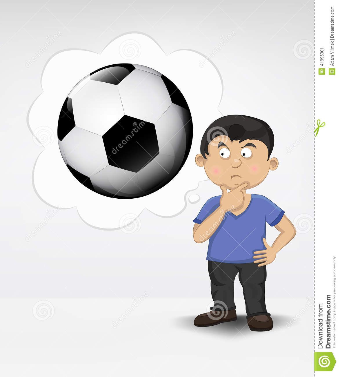 Standing young boy thinking about soccer ball stock illustration