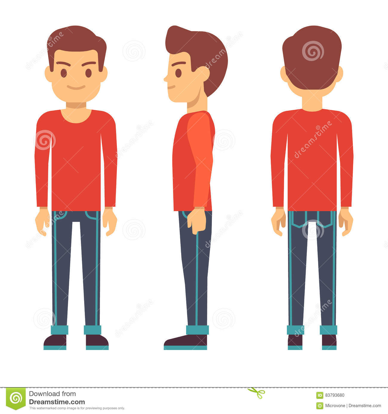 Character Design Side View : Standing young man boy character in front back side