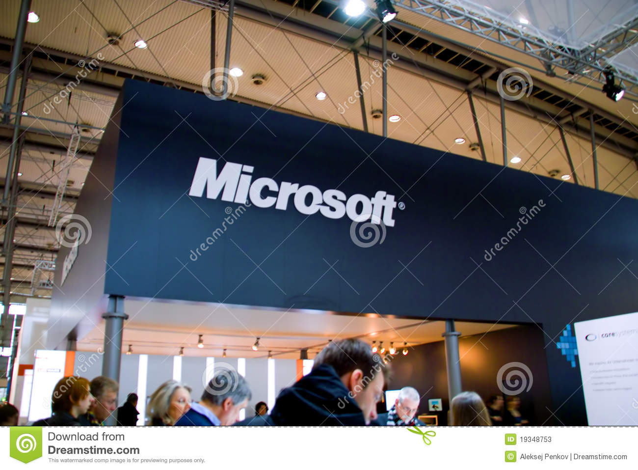 Standplatz des Microsofts in der CEBIT-Computerausstellung