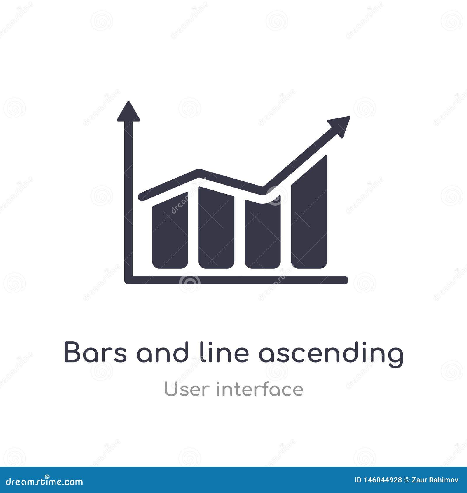 Stangen und Linie Aufsteigen der Daten Analytics-Entwurfsikone lokalisierte Linie Vektorillustration von der Benutzerschnittstell