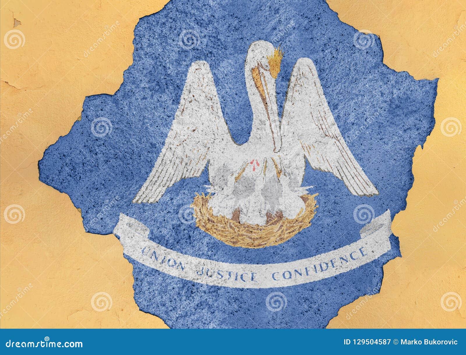 Stanu USA Luizjana flaga w duży beton pękającej dziurze i łamającej ścianie