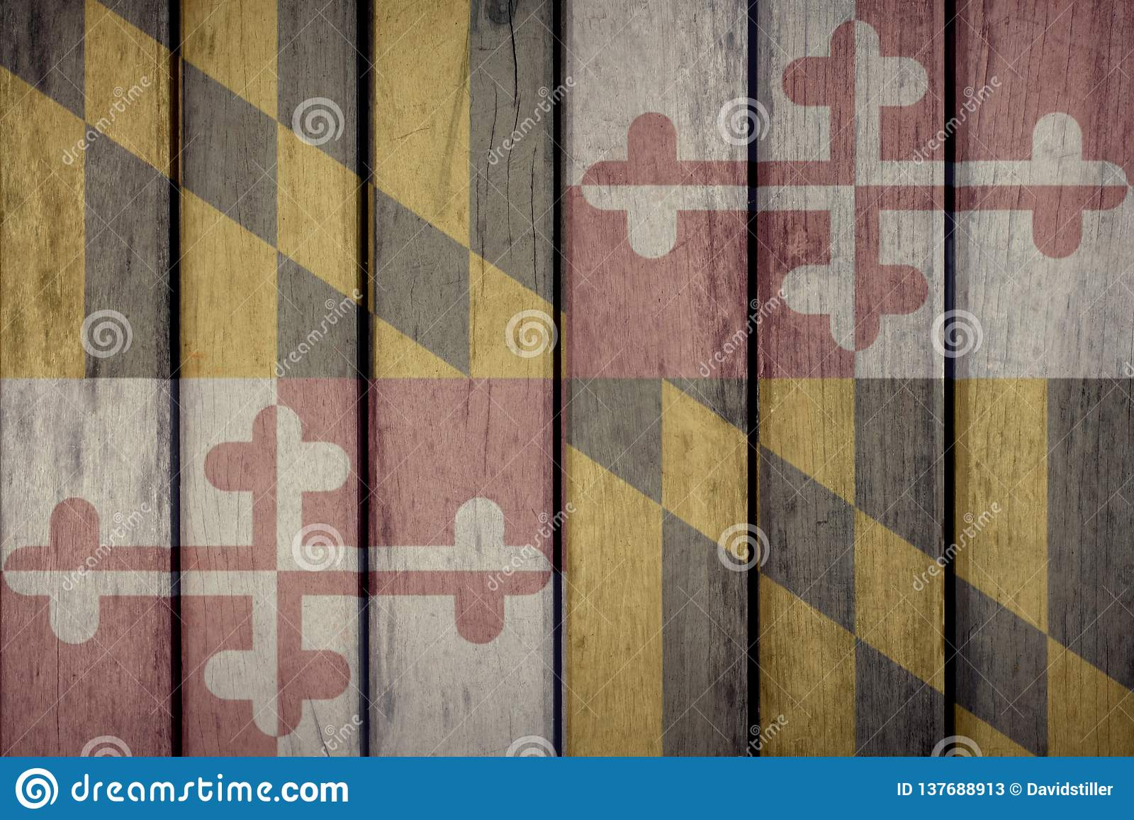 Stanu USA Maryland Chorągwiany Drewniany ogrodzenie