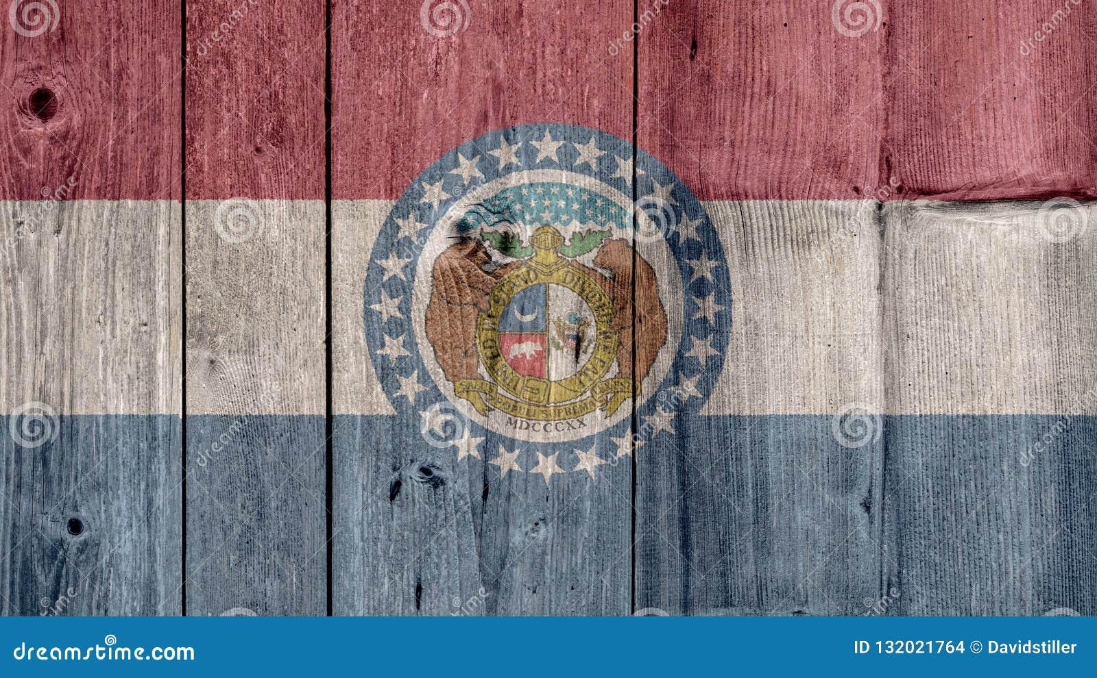 Stanu USA Missouri Chorągwiany Drewniany ogrodzenie