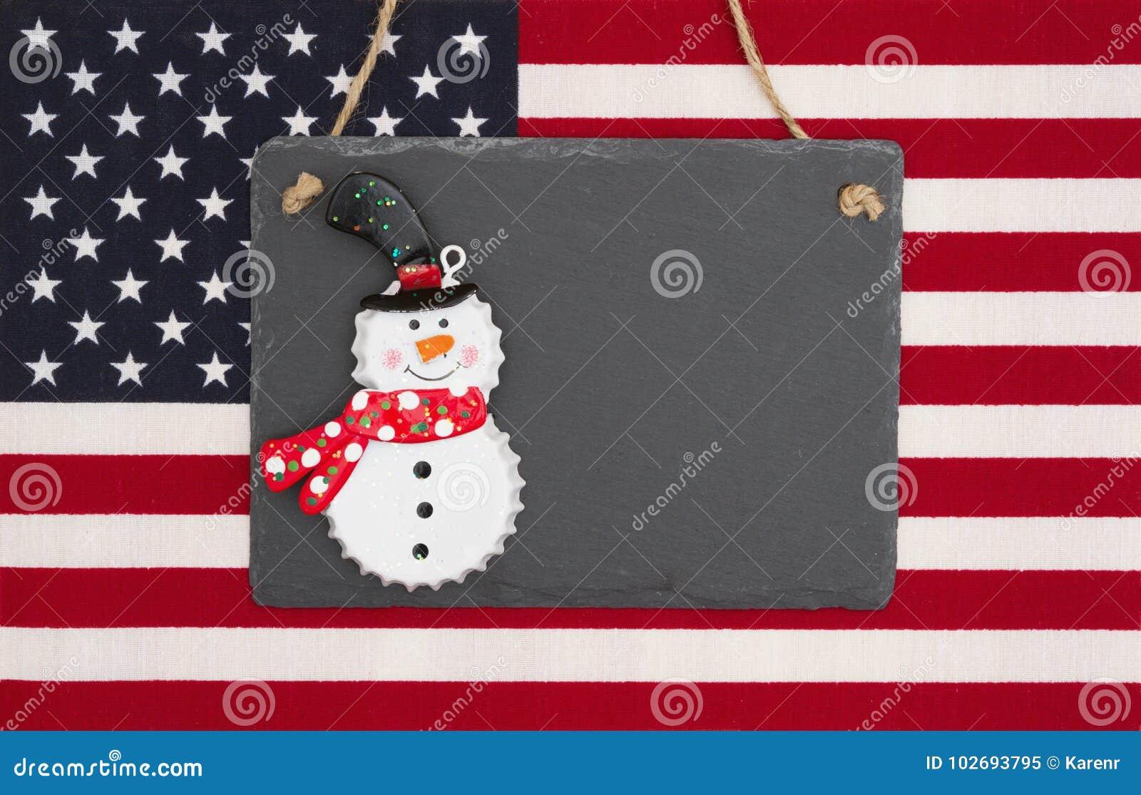 Stany Zjednoczone Ameryka flaga z czarnym chalkboard z snowm
