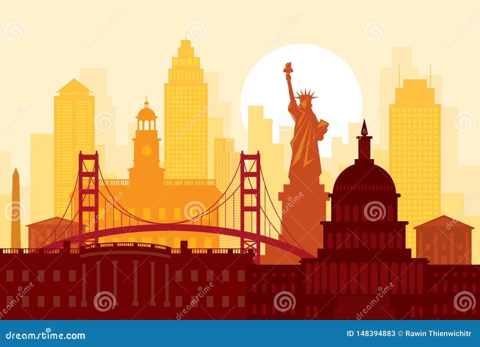 Stany Zjednoczone Ameryka, usa, punkty zwrotni, Miastowy linia horyzontu
