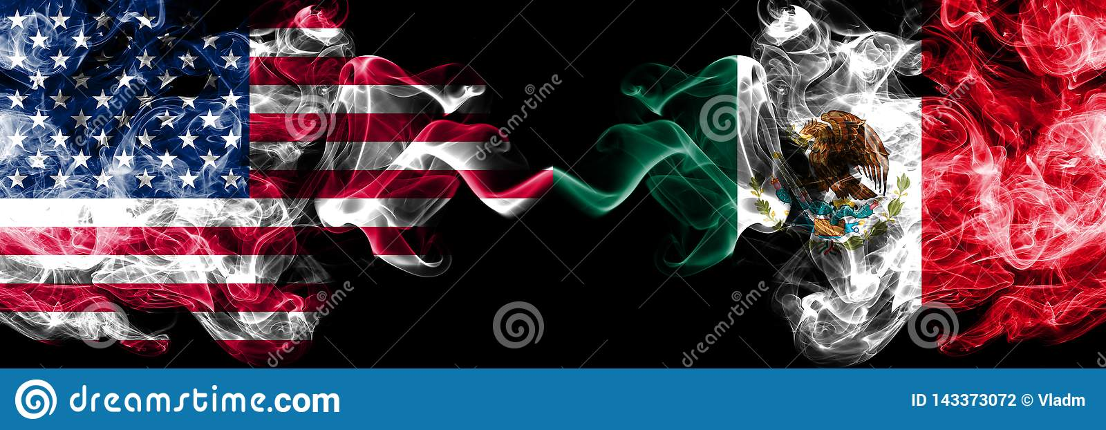 Stany Zjednoczone Ameryka vs Meksyk, Meksykańskie dymiące tajemnicze flagi umieszczająca strona strona - obok - Gęste barwion