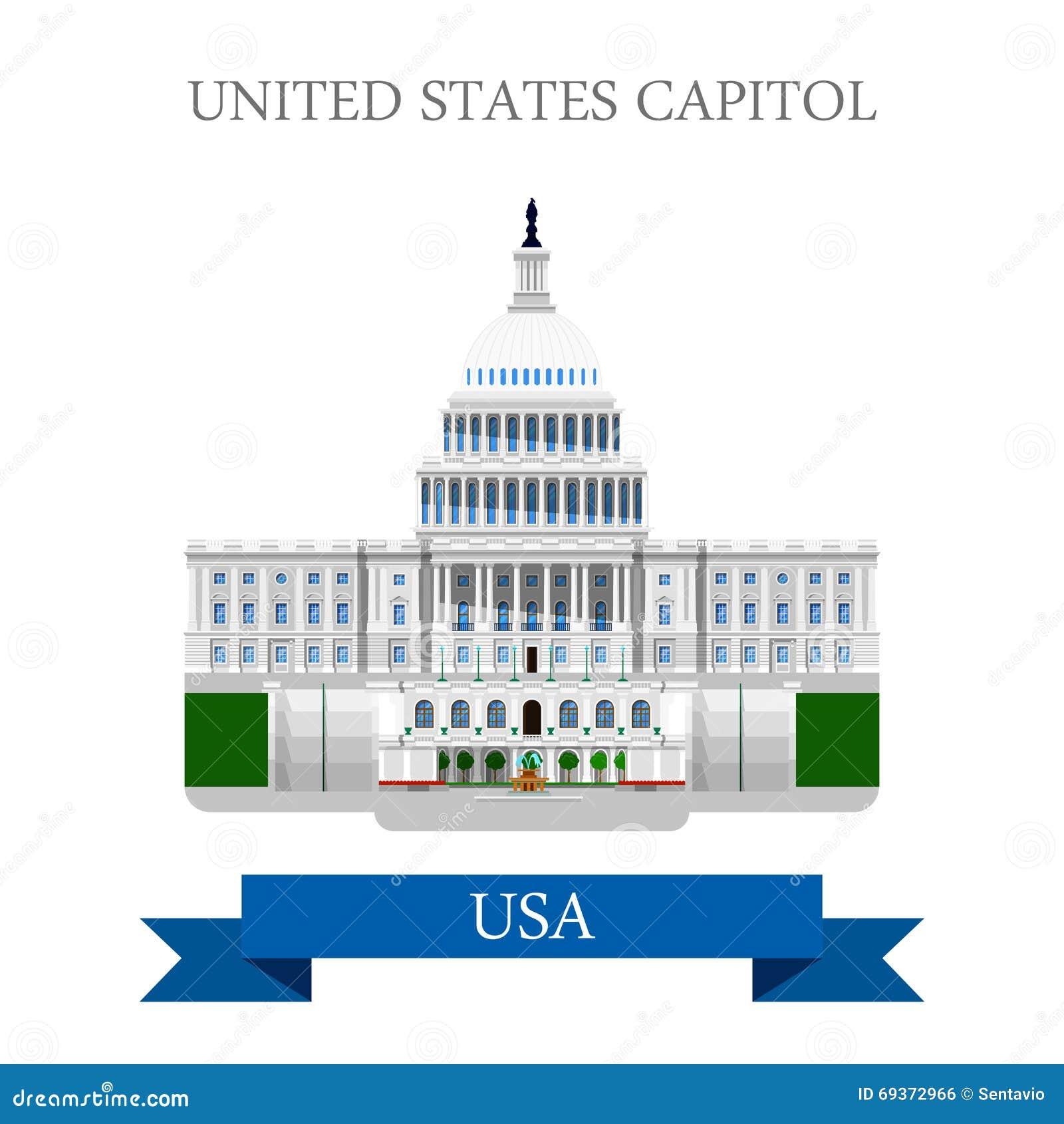 Stany Zjednoczone Capitol kongres w washington dc usa wektoru mieszkaniu