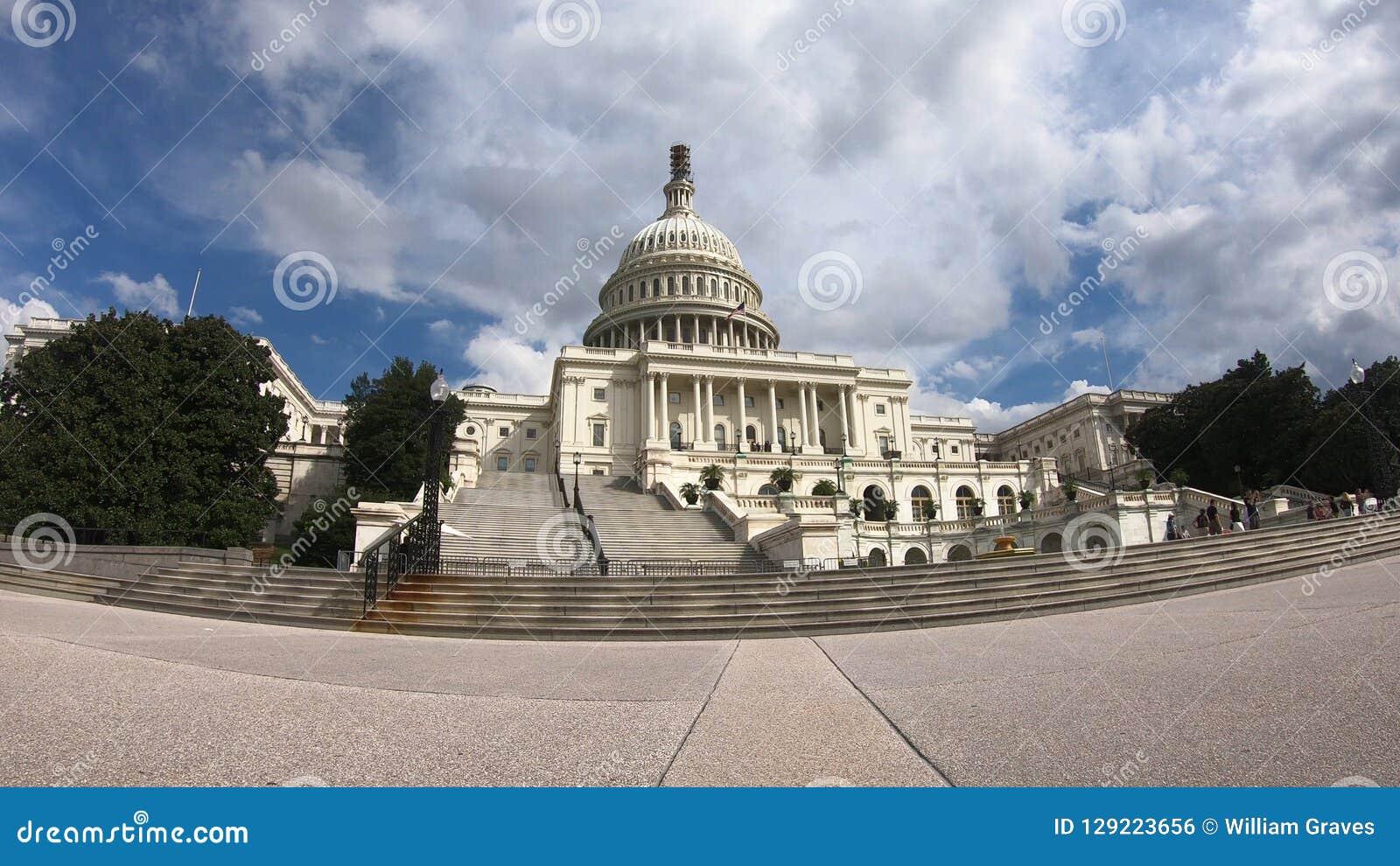 Stany Zjednoczone Kapitałowy budynek, kongres - washington dc Szeroki kąt