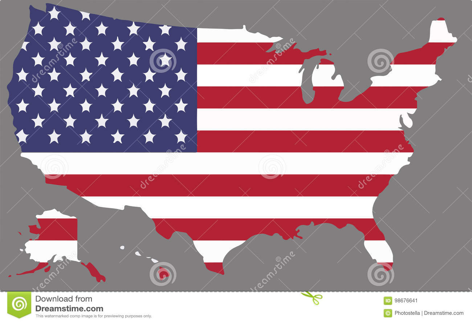 Stany Zjednoczone mapy wektor z flaga amerykańską