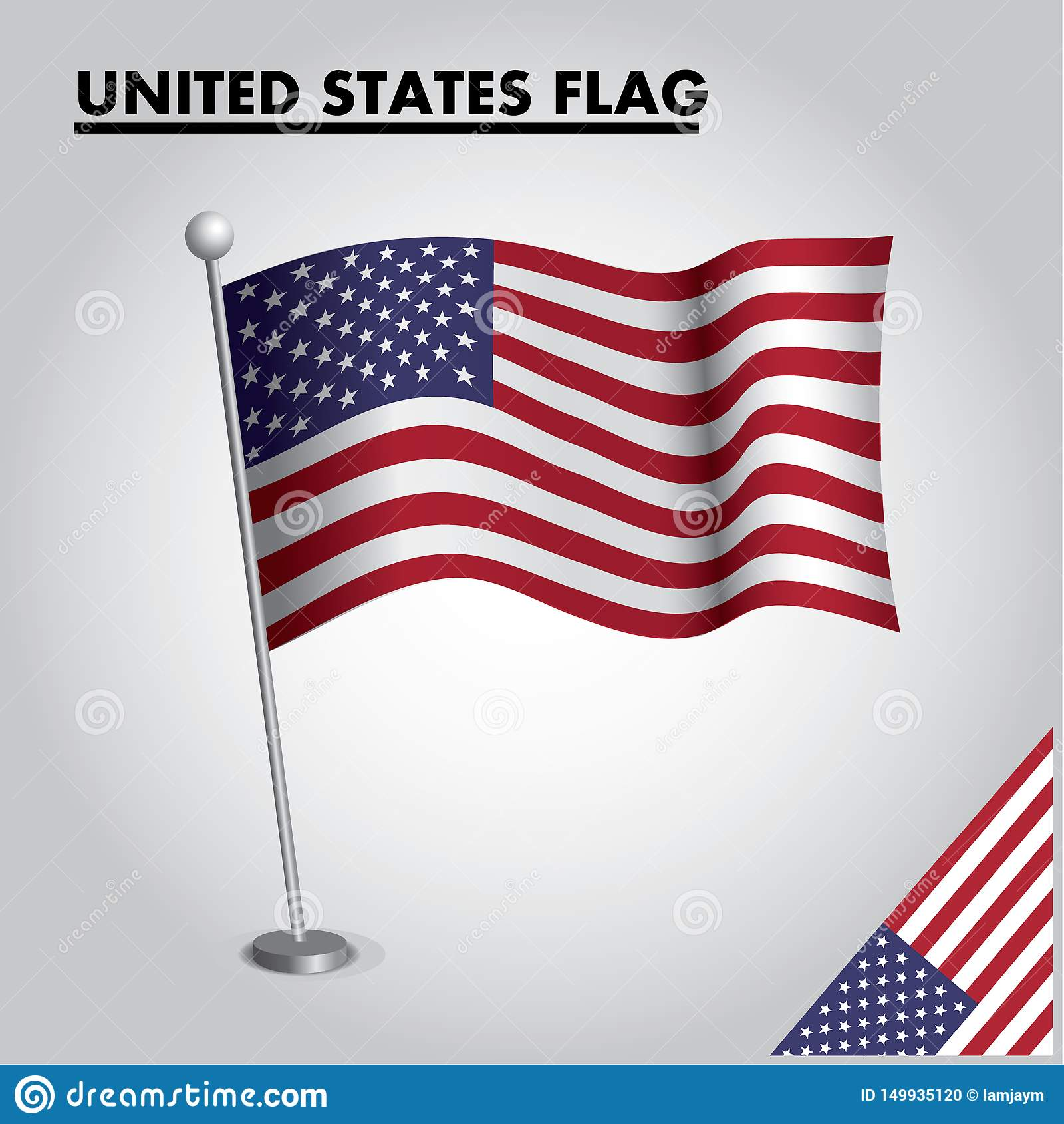 STANY ZJEDNOCZONE zaznacza flagę państowową STANY ZJEDNOCZONE na słupie