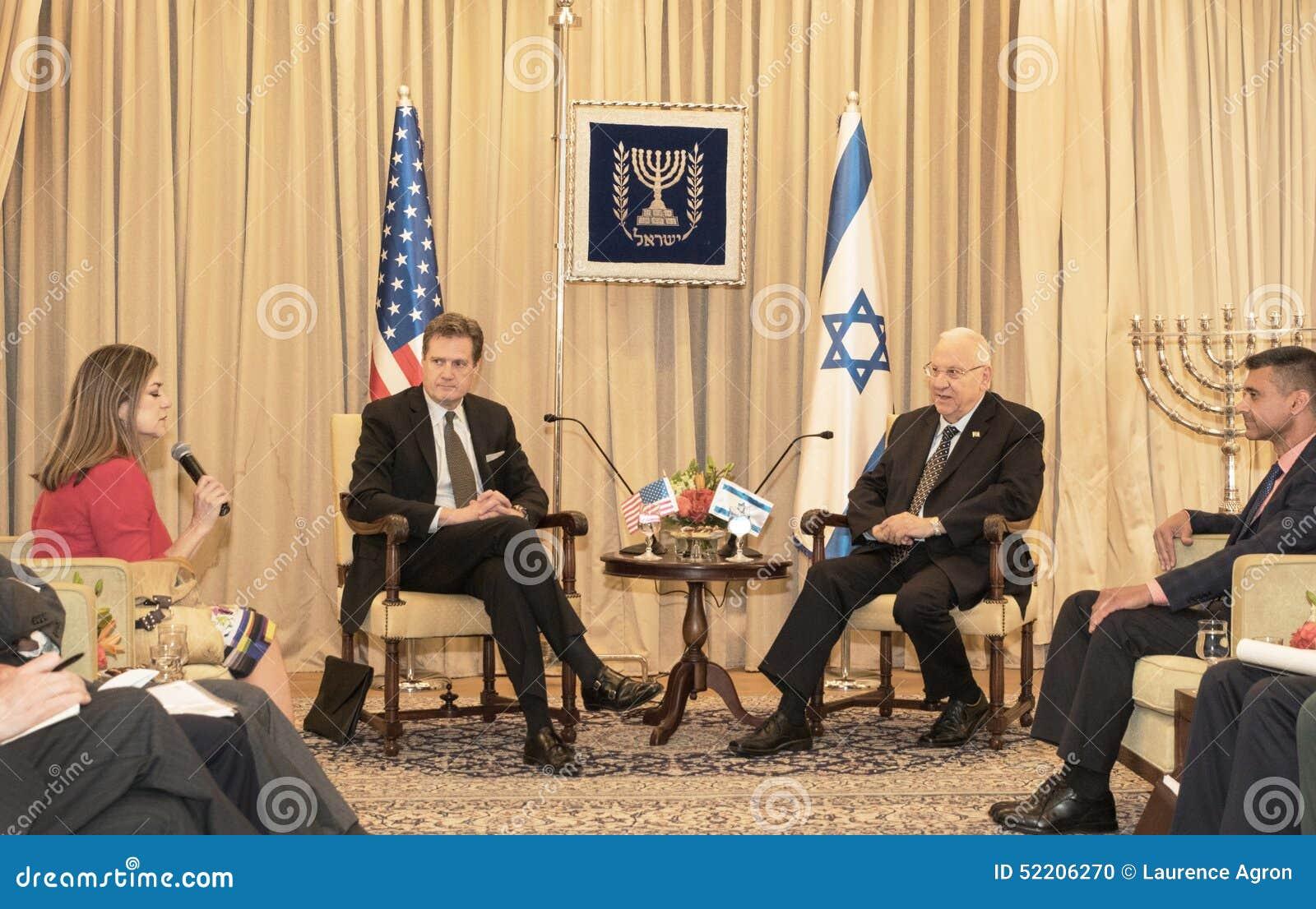 Stany Zjednoczone Zjazdowa delegacja Spotyka Izrael prezydenta