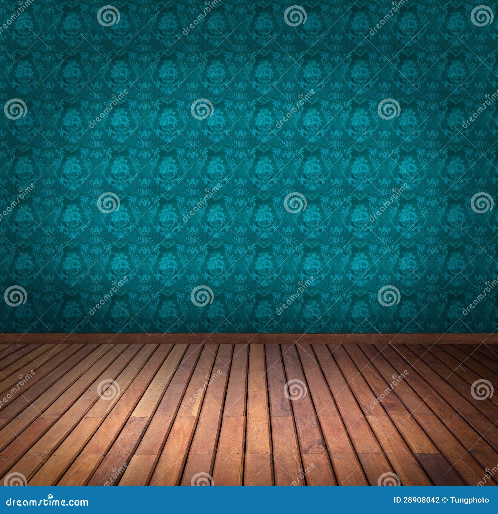 Stanza blu della carta da parati