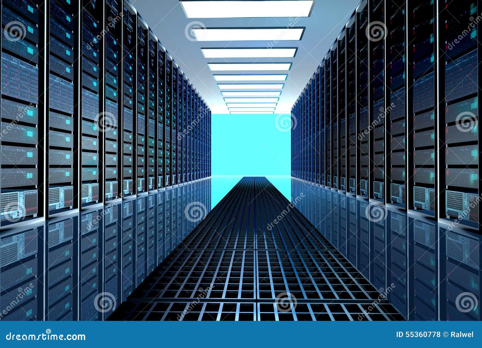 Stanza in centro dati, stanza del server fornita di server di dati