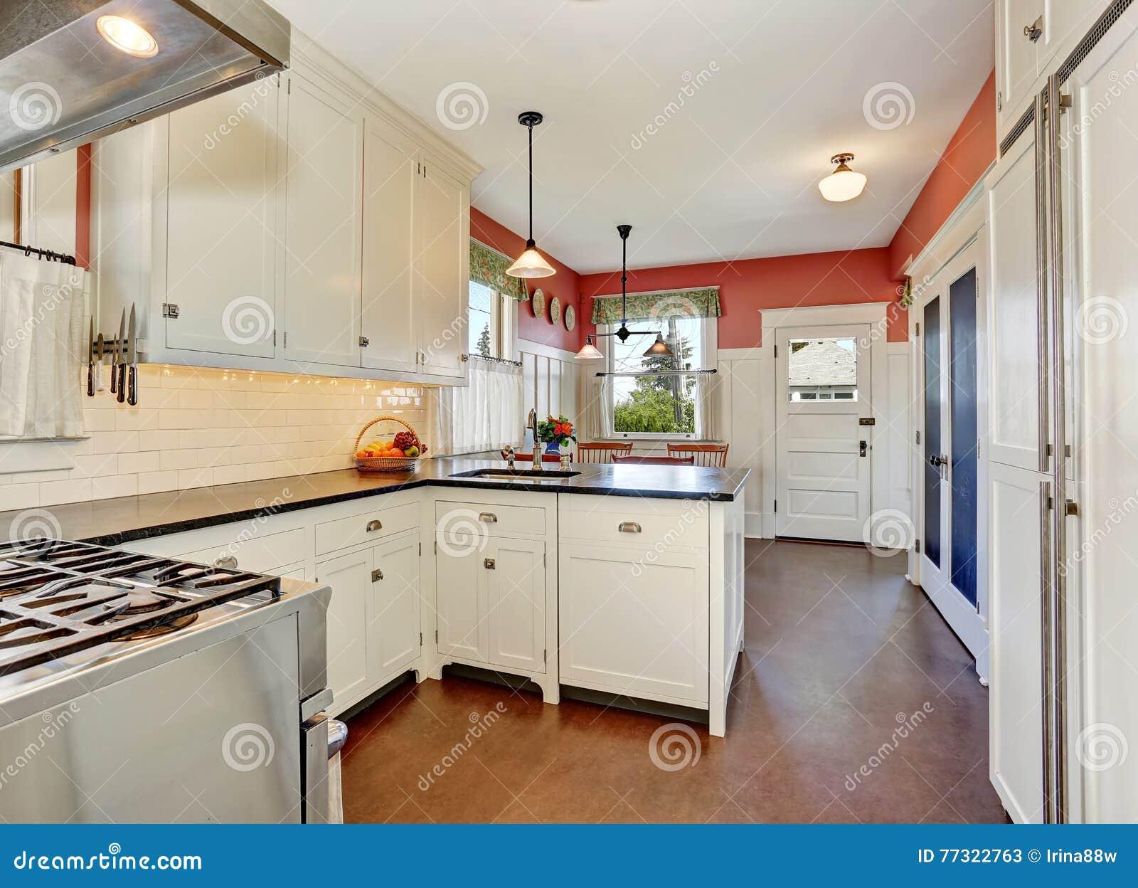 Stanza classica della cucina con i gabinetti il ripiano for Grande disposizione della stanza