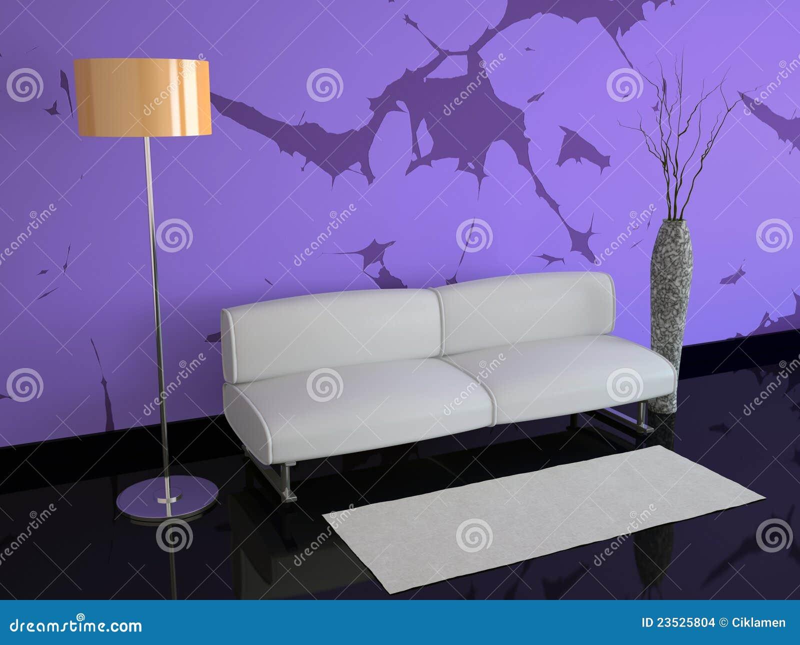 Soggiorno Con Pareti Viola : Stanza con le pareti viola e una lampada ...