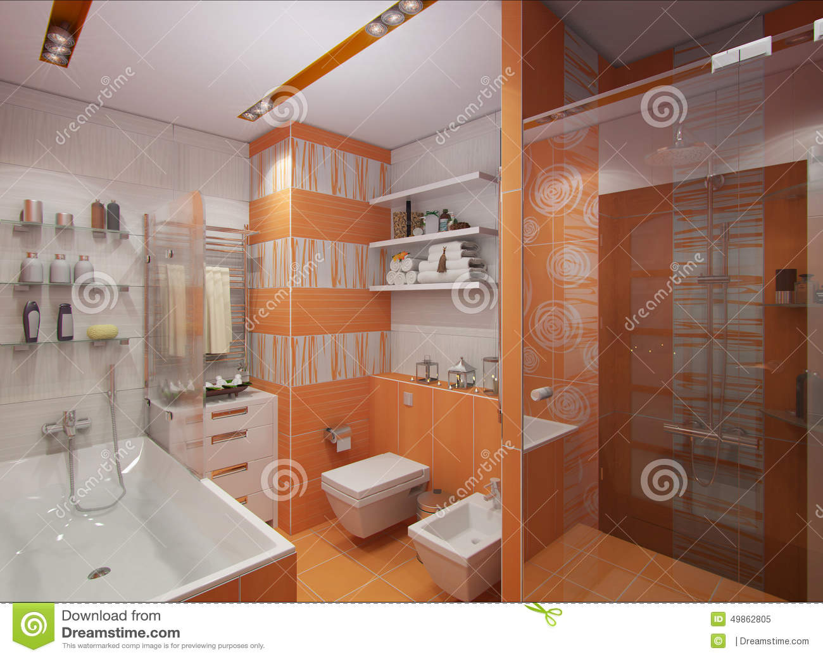 Stanza da bagno arancione immagine stock immagine di disegno