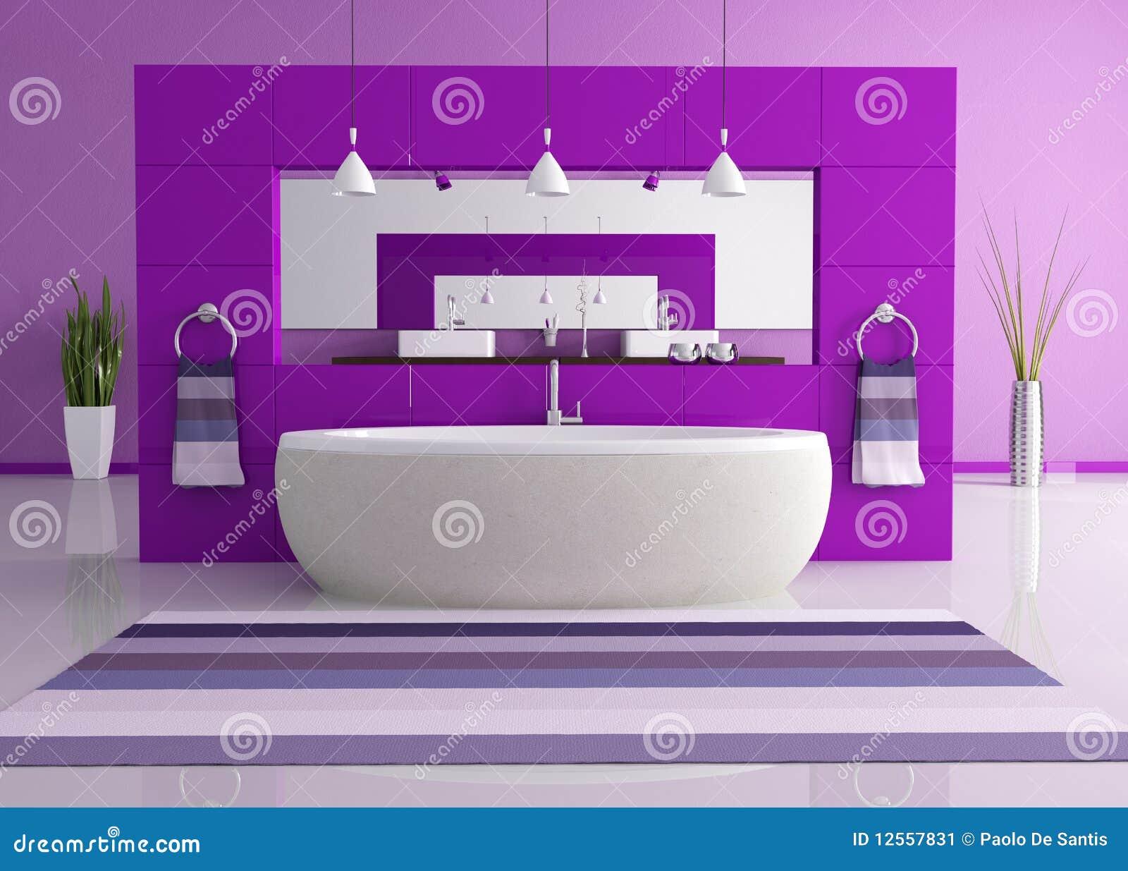 Stanza da bagno contemporanea viola illustrazione di stock for Stanza da bagno