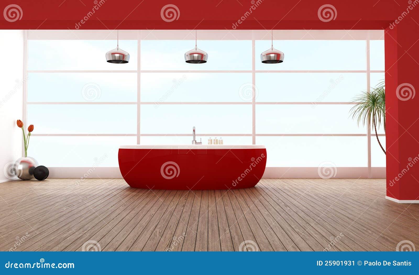 Vasca Da Bagno Rossa : Stanza da bagno di lusso rossa illustrazione di stock