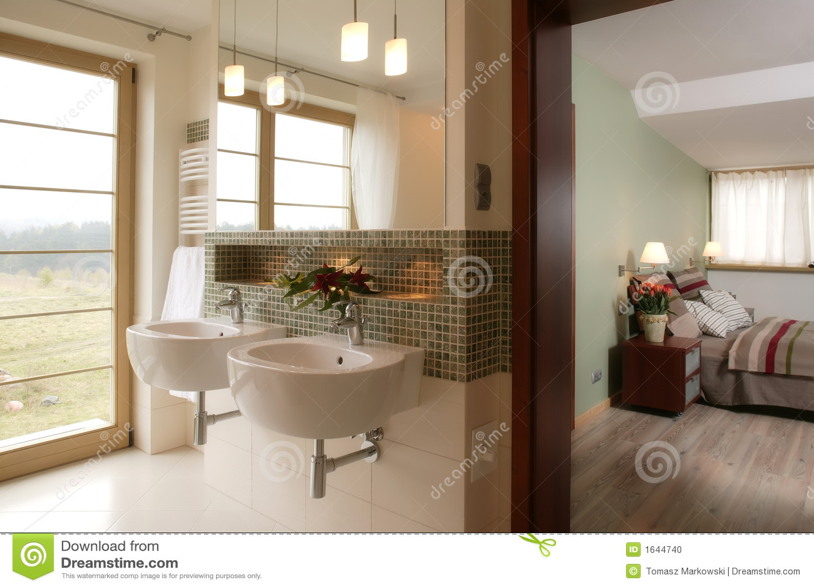 Stanza da bagno e camera da letto alla moda fotografia - Camera da letto con bagno ...