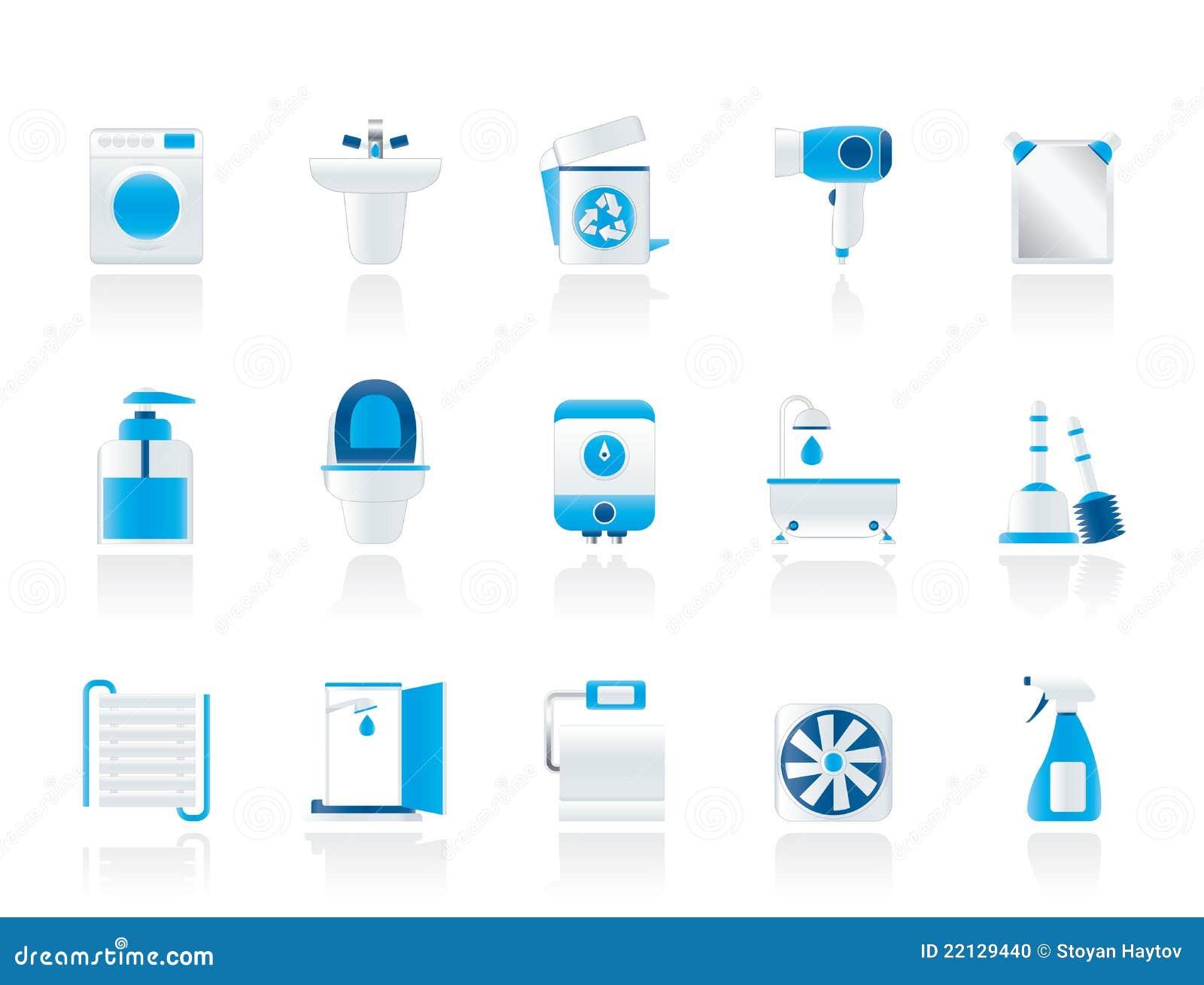stanza da bagno ed oggetti ed icone della toletta