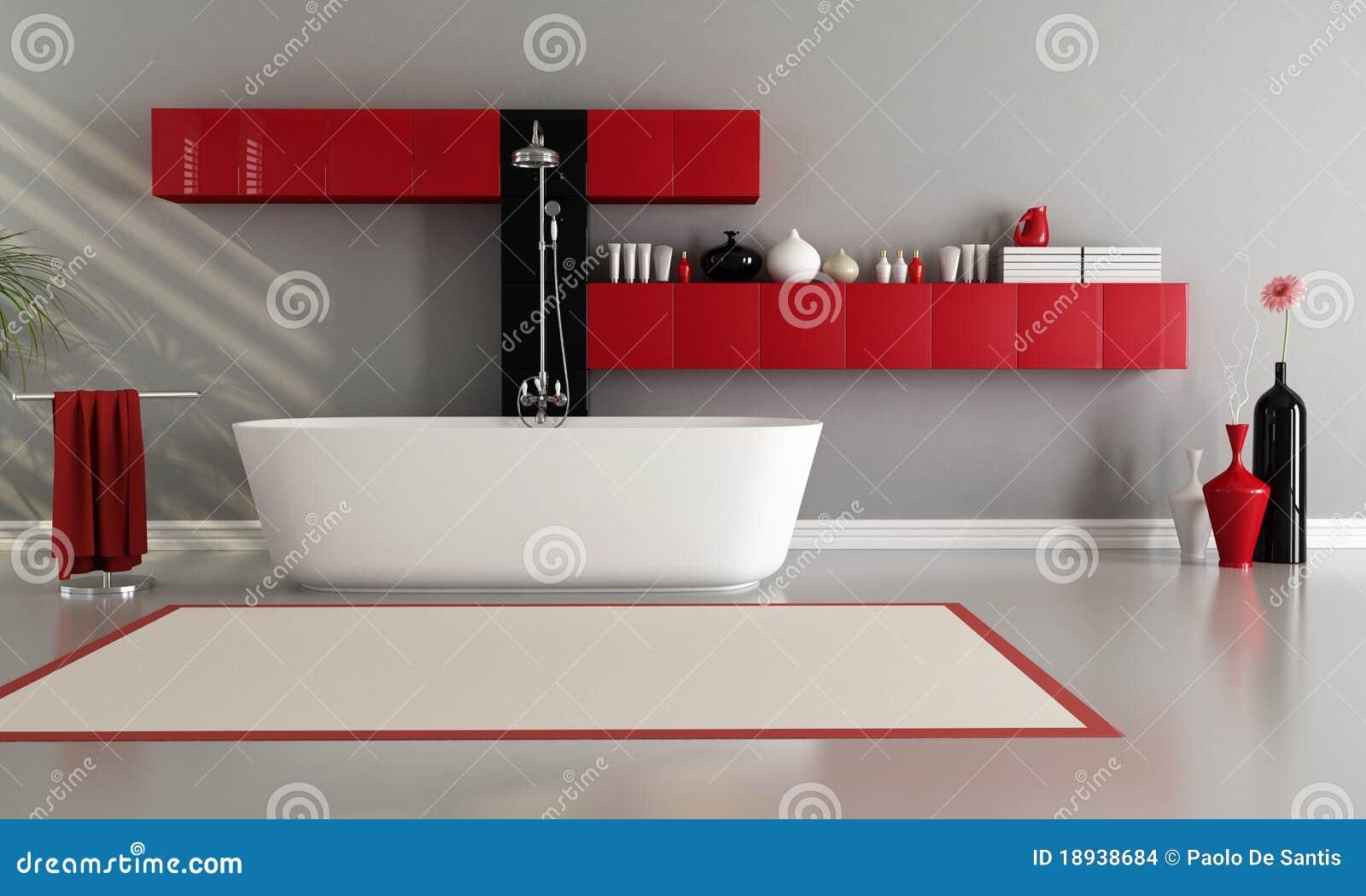 Vasca Da Bagno Rossa : Stanza da bagno moderna illustrazione di stock illustrazione di
