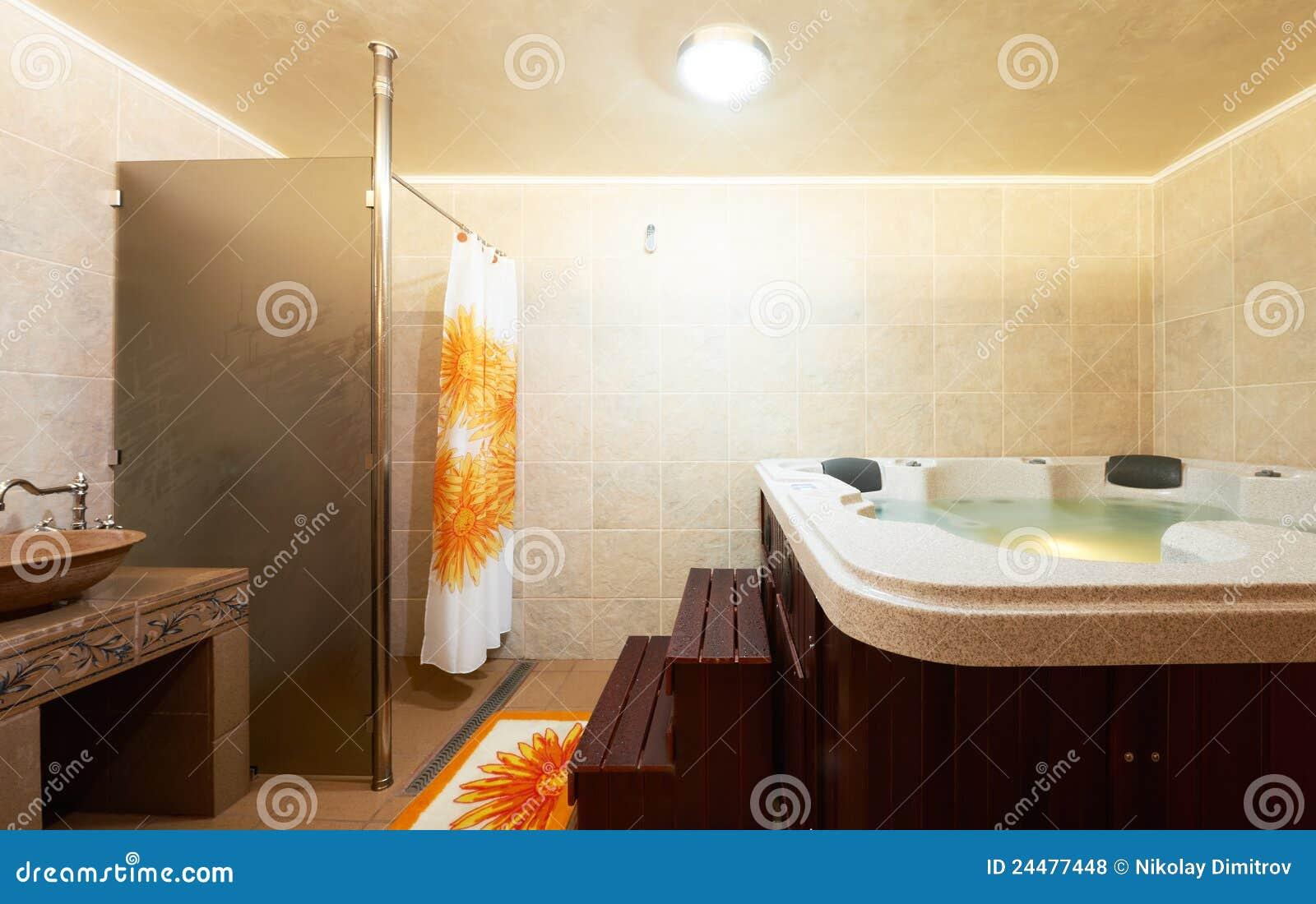Stanza Da Bagno Moderna Con La Jacuzzi Fotografie Stock Libere da Diritti - Immagine: 24477448