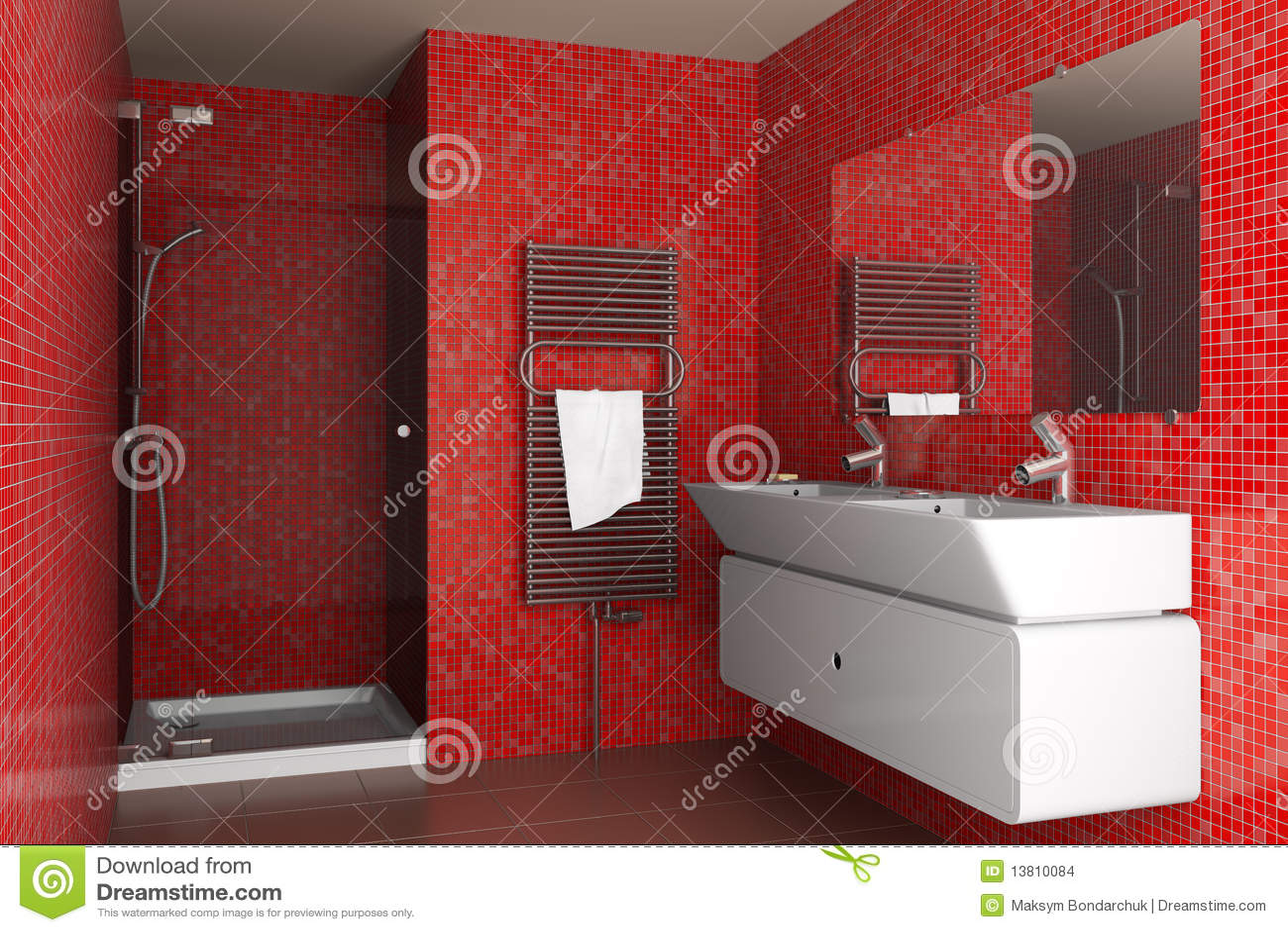 Stanza Da Bagno Moderna Con Le Mattonelle Di Mosaico Rosse