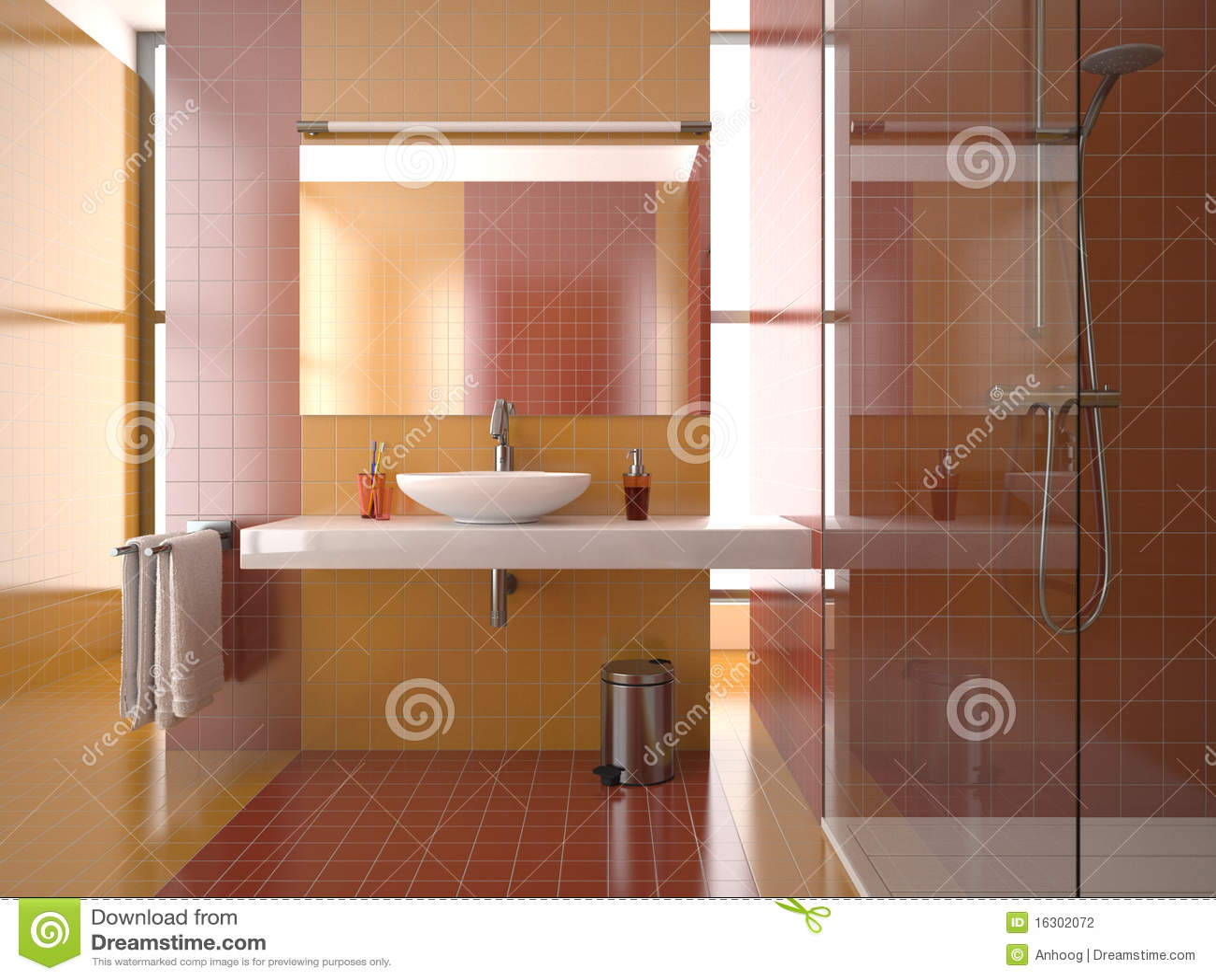 Stanza da bagno moderna con le mattonelle rosse ed - Mattonelle bagno prezzi ...
