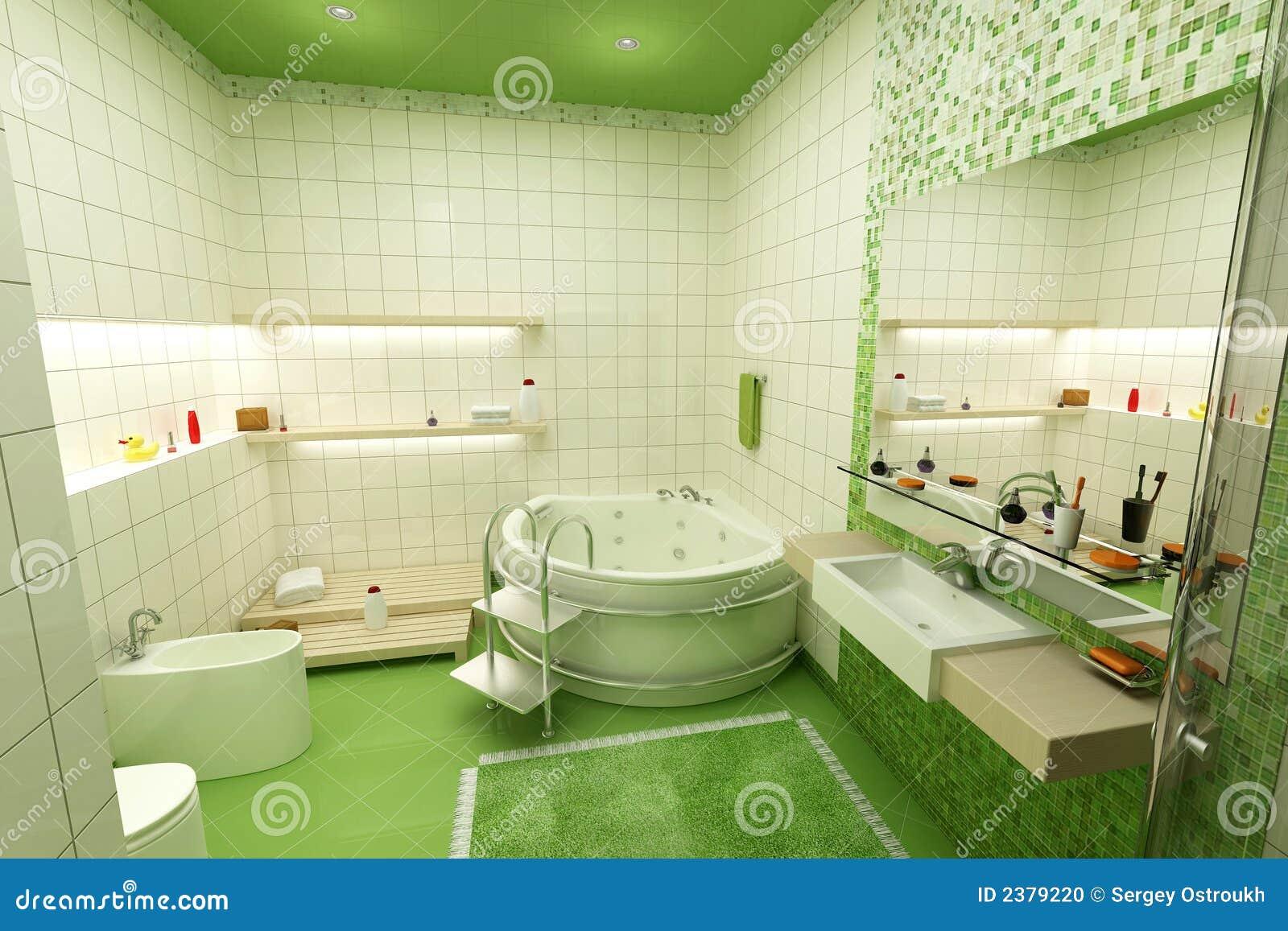 Stanza Da Bagno Verde Fotografia Stock - Immagine: 2379220