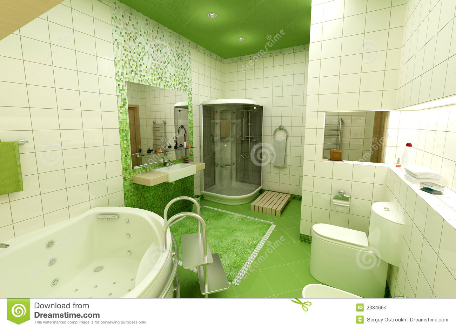Stanza Da Bagno Verde Immagini Stock - Immagine: 2384664
