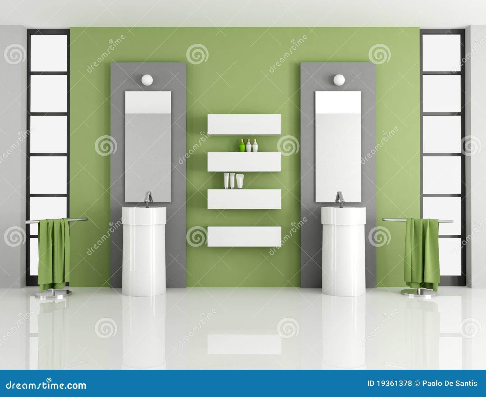 Stanza da bagno verde contemporanea illustrazione di stock for Stanza da bagno