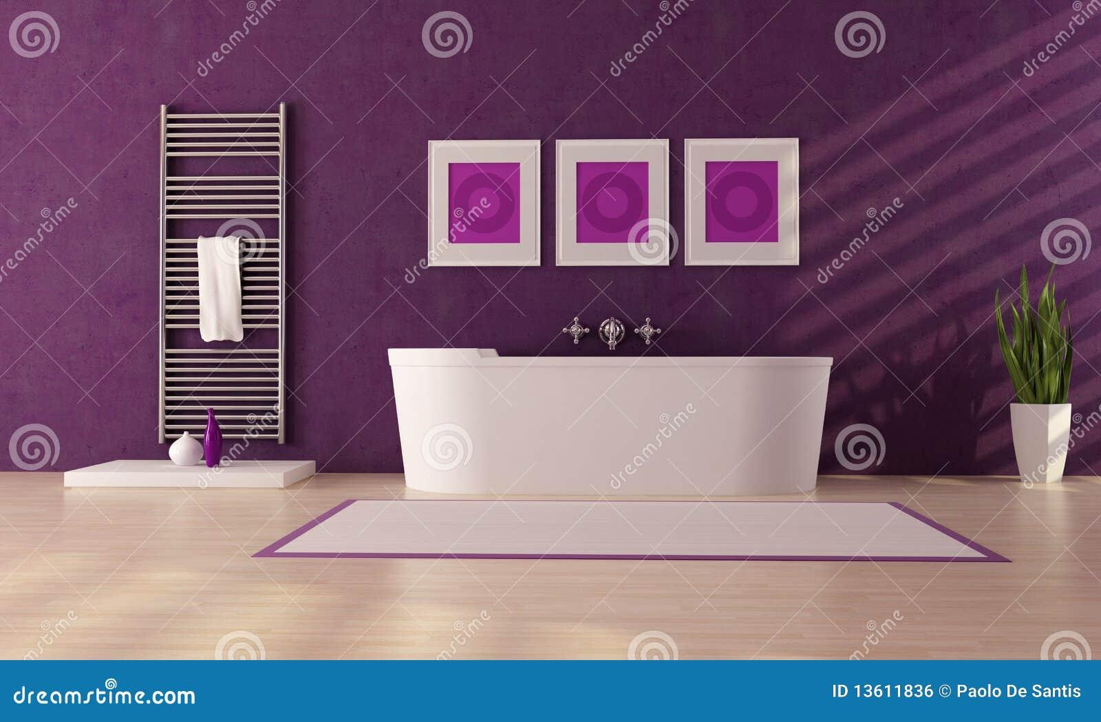 Stanza da bagno viola illustrazione di stock illustrazione di