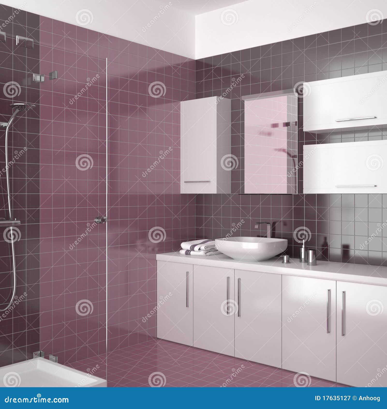 Stanza da bagno viola moderna con mobilia bianca for Stanza da pranzo moderna