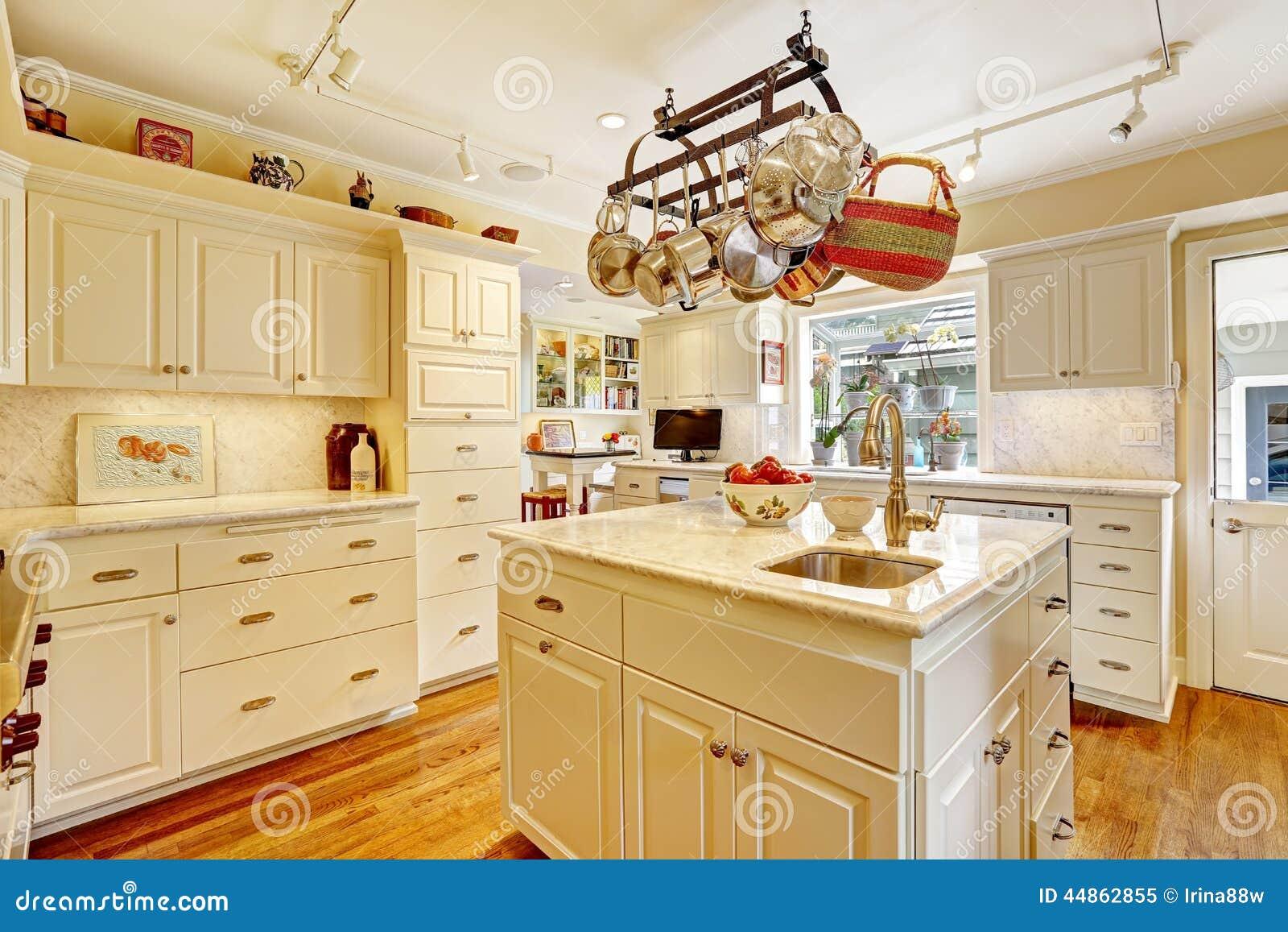 Stanza della cucina con l 39 isola e lo scaffale d 39 attaccatura del vaso immagine stock immagine - Scaffale cucina ...