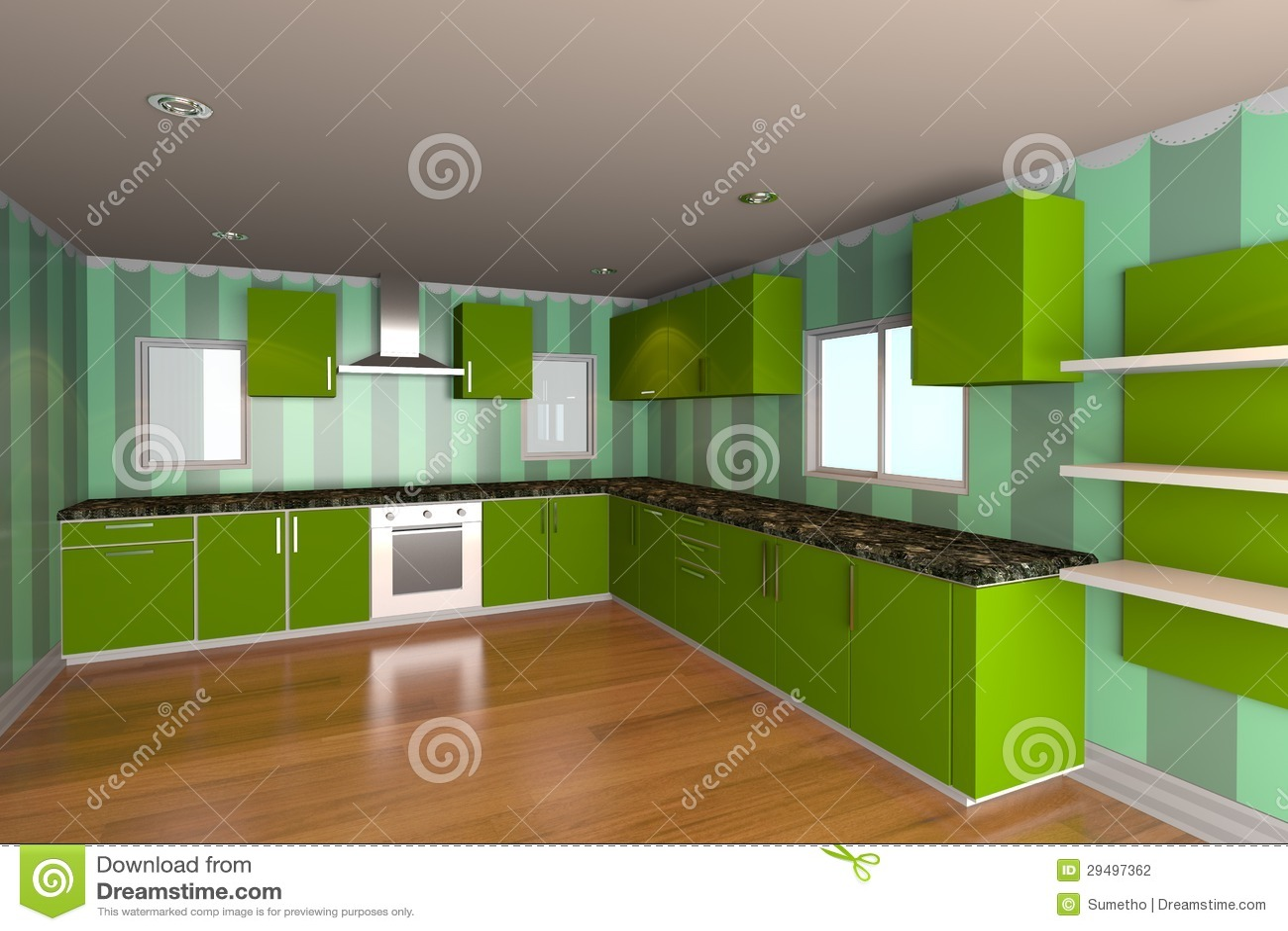 Stanza della cucina con la carta da parati verde for Carta parati verde