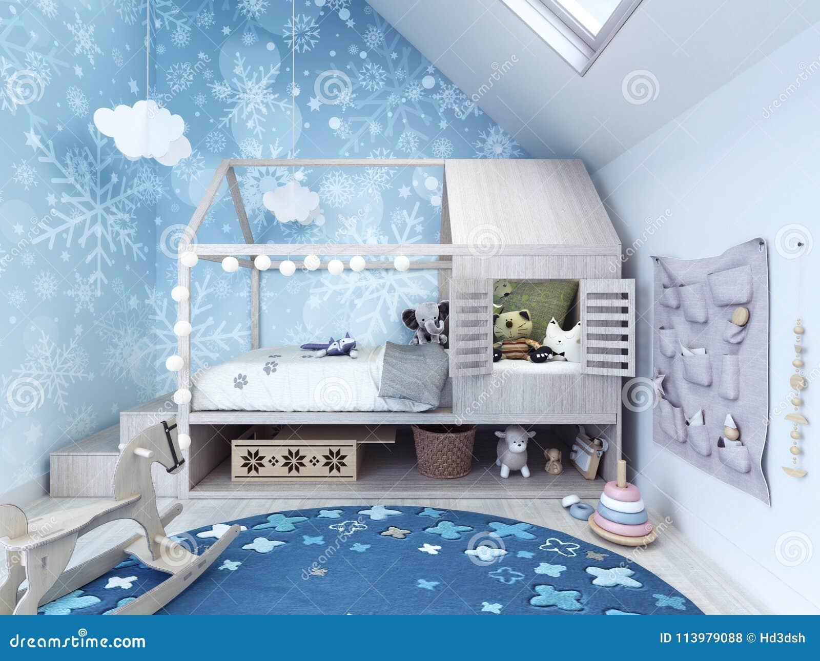 Camera Da Letto Bambino : Stanza di bambino camera da letto dei bambini con tappeto blu e