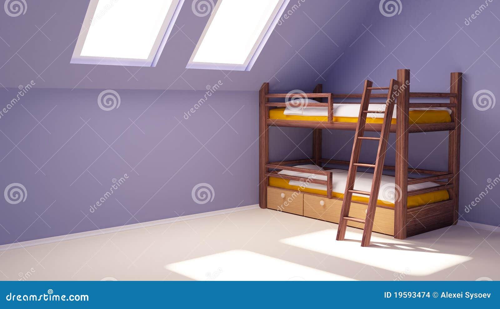 Stanza di bambino sulla soffitta