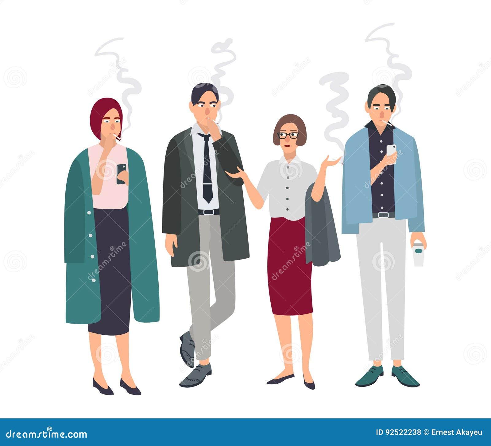 Stanza di fumo Gente differente dell ufficio sulla rottura del fumo Uomo e donna con le sigarette Illustrazione di vettore nello
