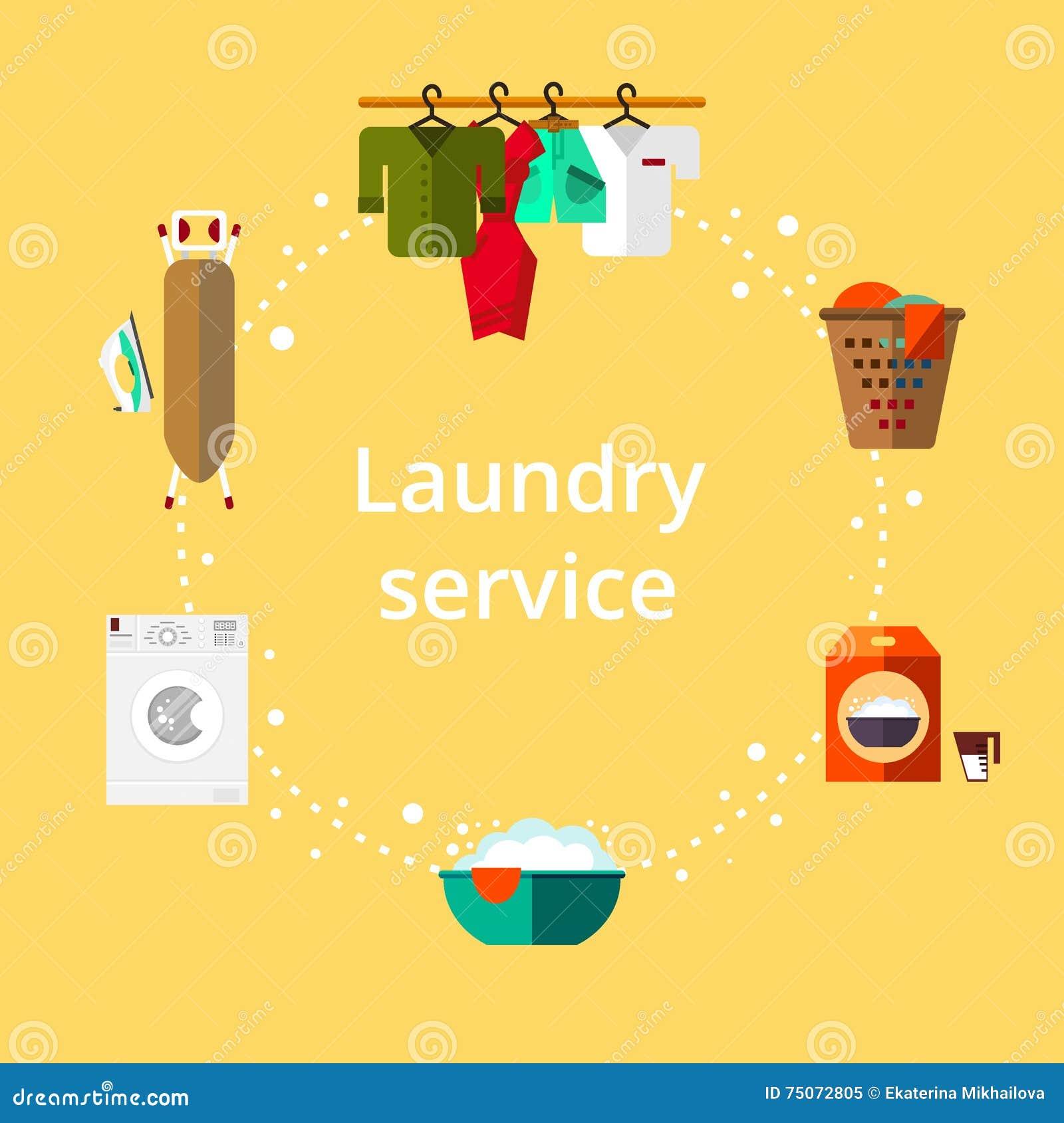 0fd792e42c Stanza di lavanderia nello stile piano Pulisca gli oggetti Servizio di  pulizia - illustrazione di vettore. Più illustrazioni stock simili