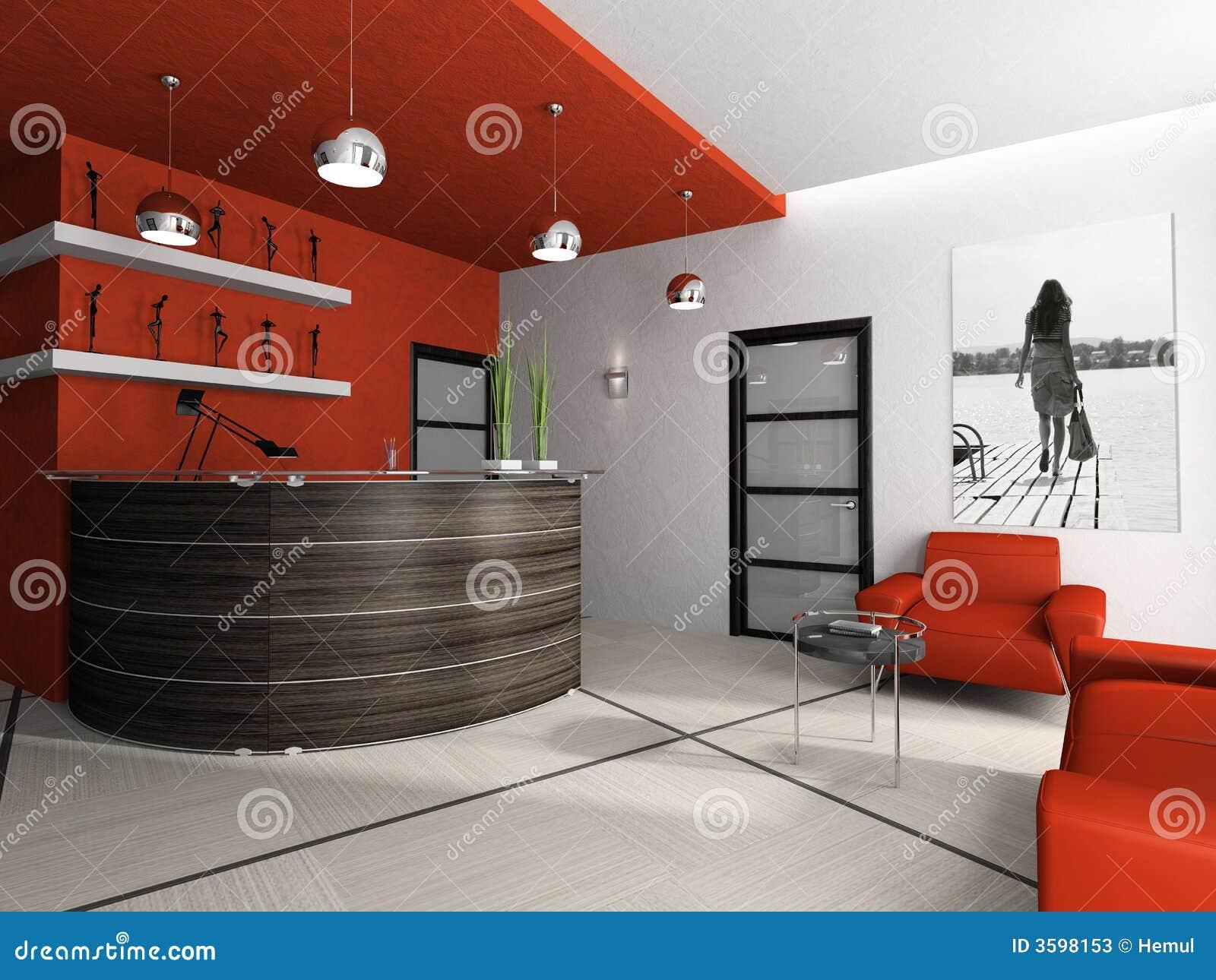 Stanza di ricezione in ufficio 3d illustrazione di stock for Stanza in ufficio